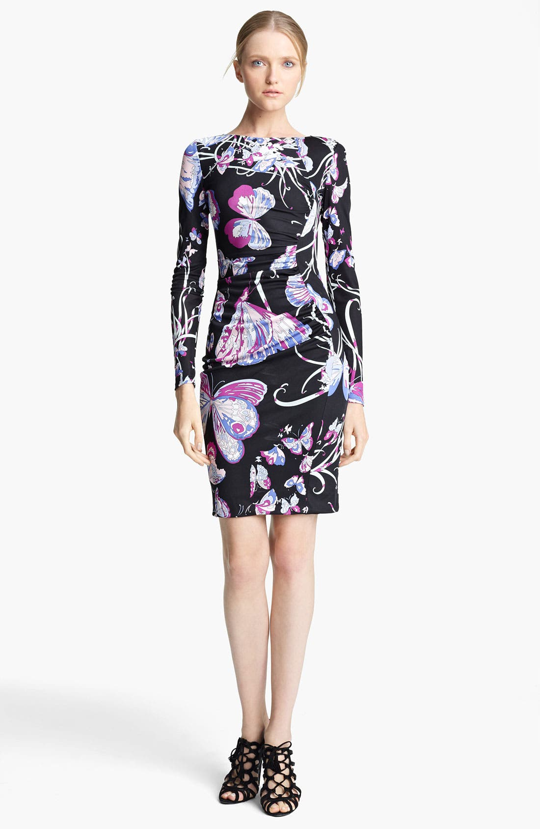Butterfly Print Jersey Dress,                             Main thumbnail 1, color,                             Black Butterfly