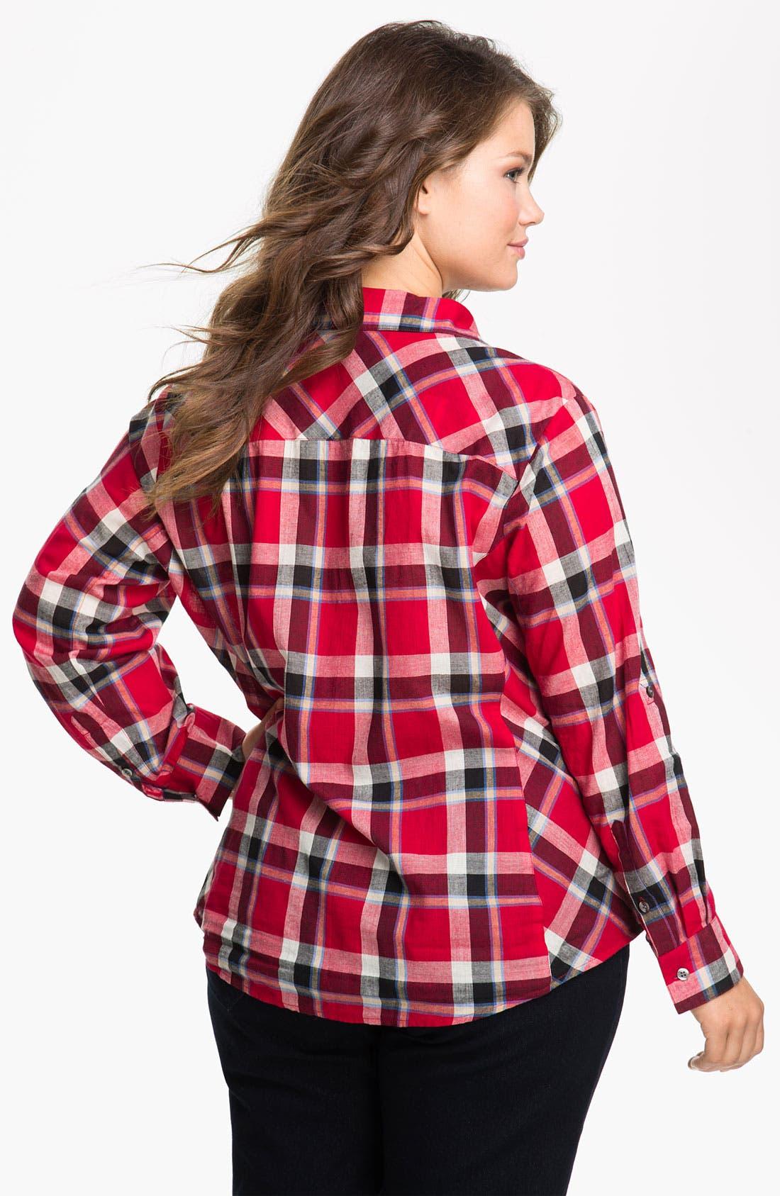 Alternate Image 2  - Sandra Ingrish Roll Sleeve Plaid Shirt (Plus)
