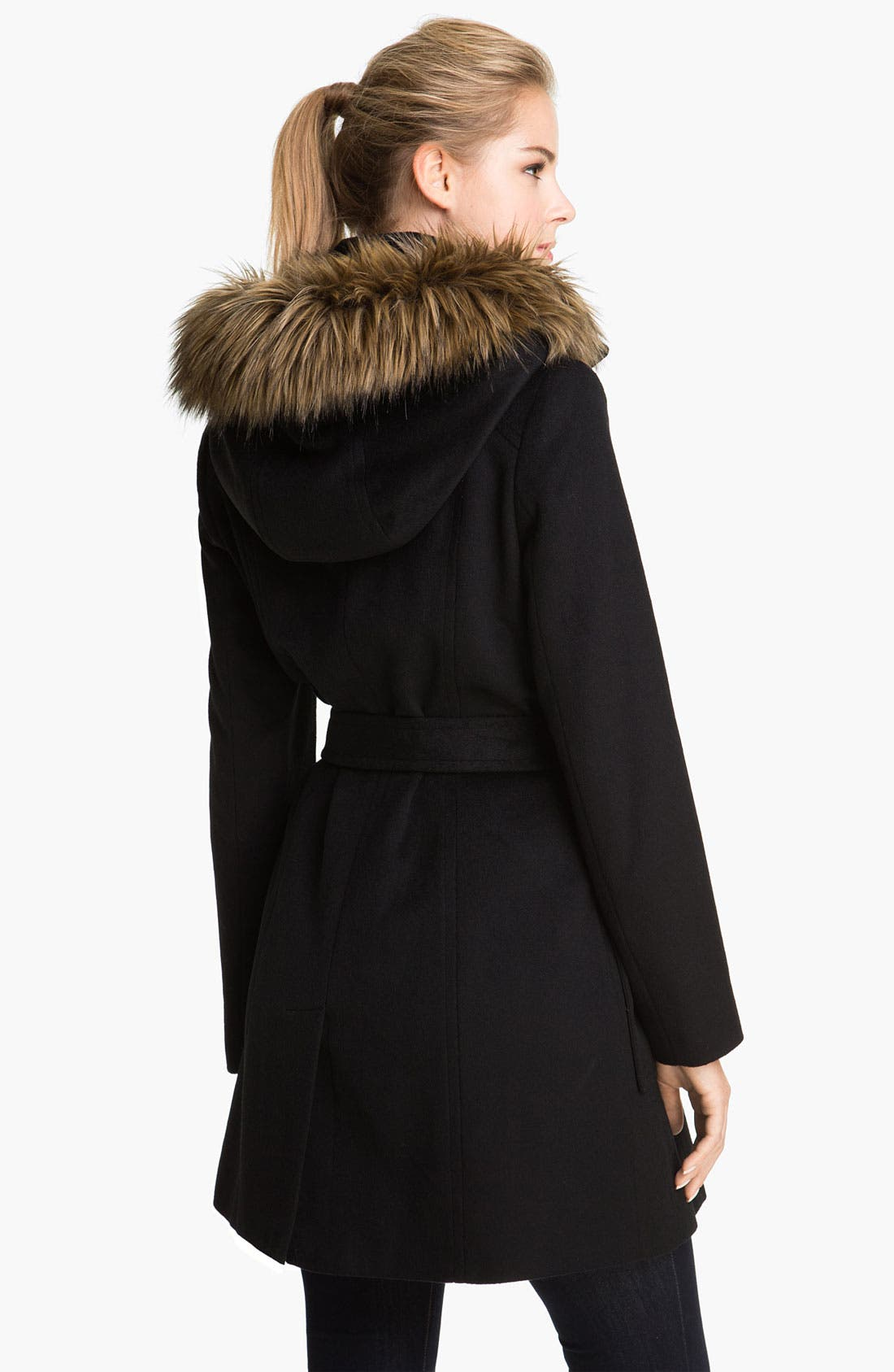 Faux Fur Trim Turnkey Coat,                             Alternate thumbnail 2, color,                             Black