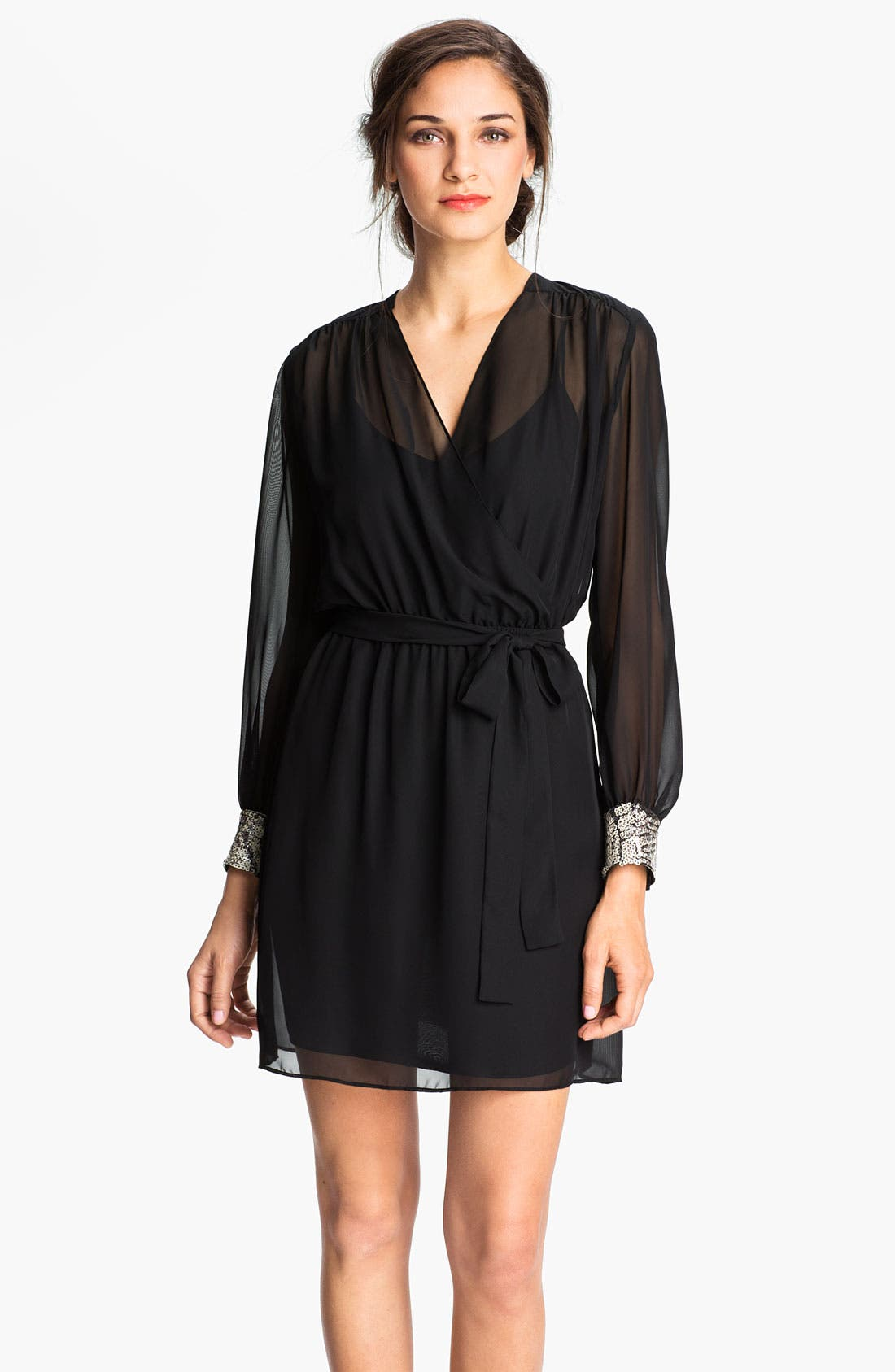 Main Image - Donna Morgan Sequin Cuff Surplice Chiffon Dress