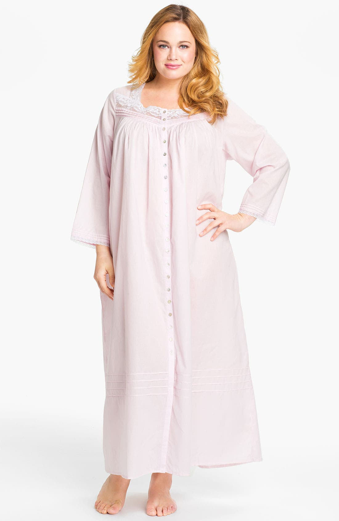 Alternate Image 1 Selected - Eileen West Button Front Nightgown (Plus Size)