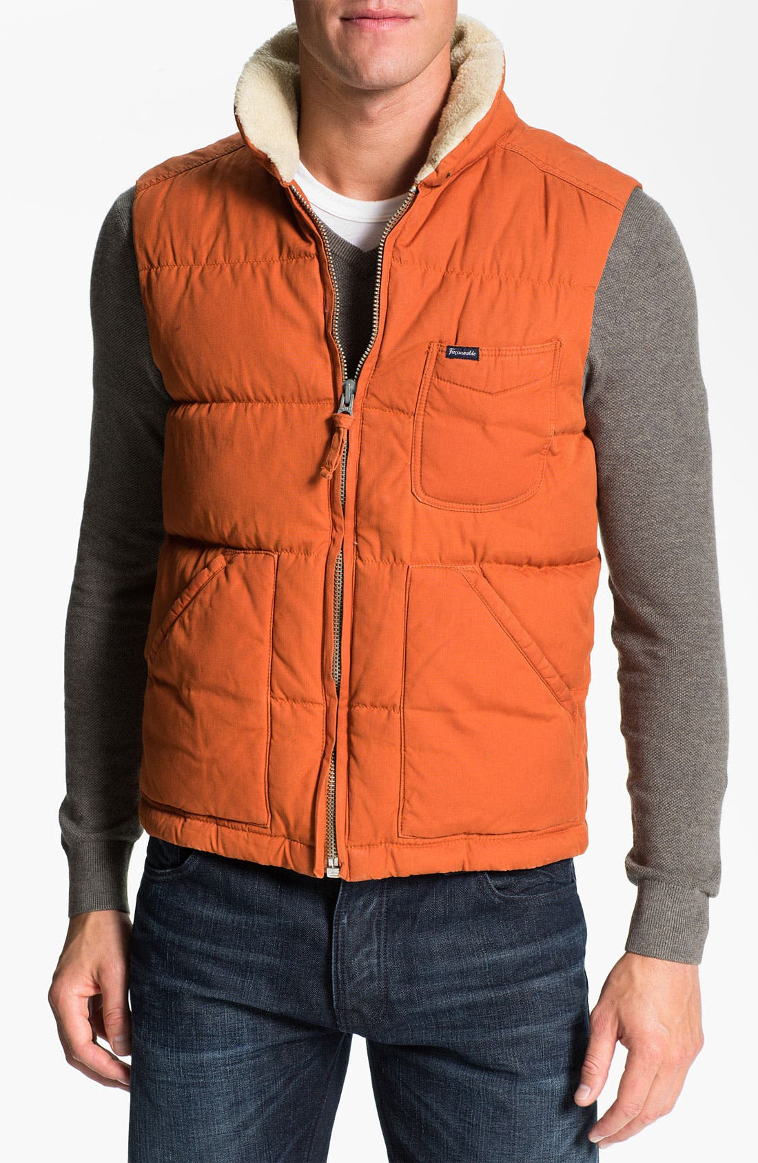 Alternate Image 1 Selected - Façonnable 'Cire' Club Fit Down & Feather Vest with Faux Fur Trim