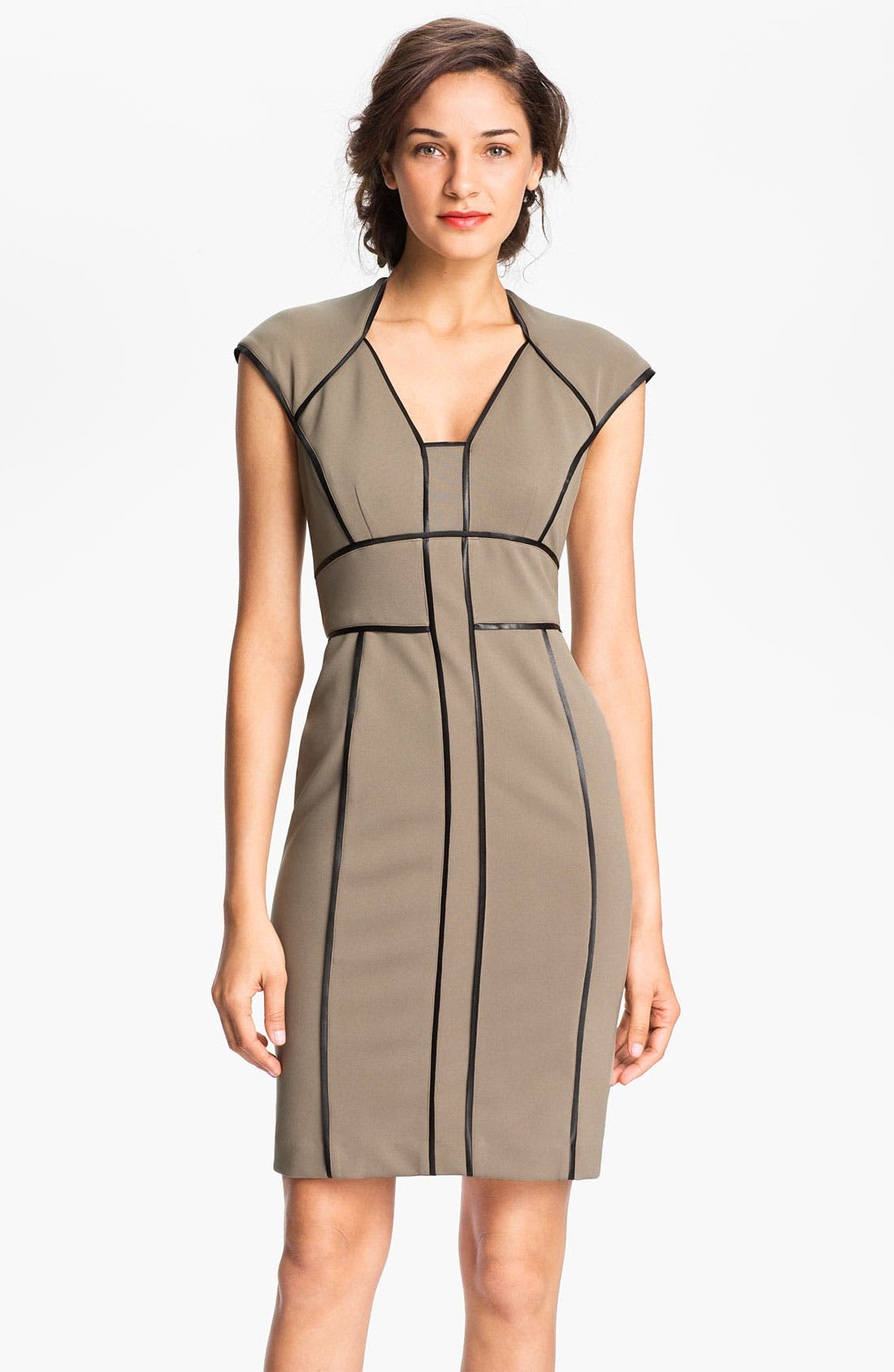 Main Image - Maggy London Faux Leather Trim Sheath Dress