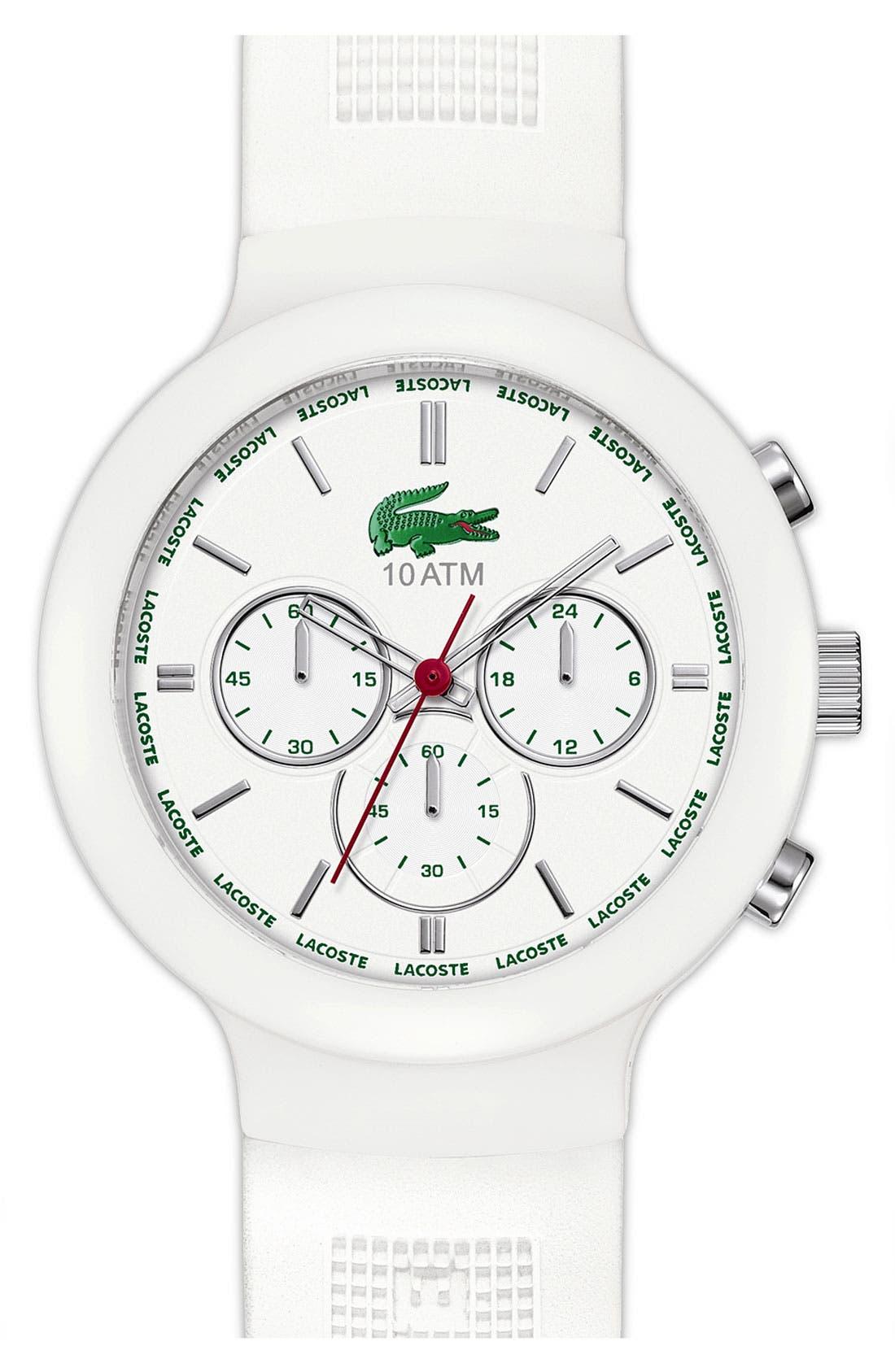 Main Image - Lacoste 'Boreno' Chronograph Silicone Strap Watch, 44mm