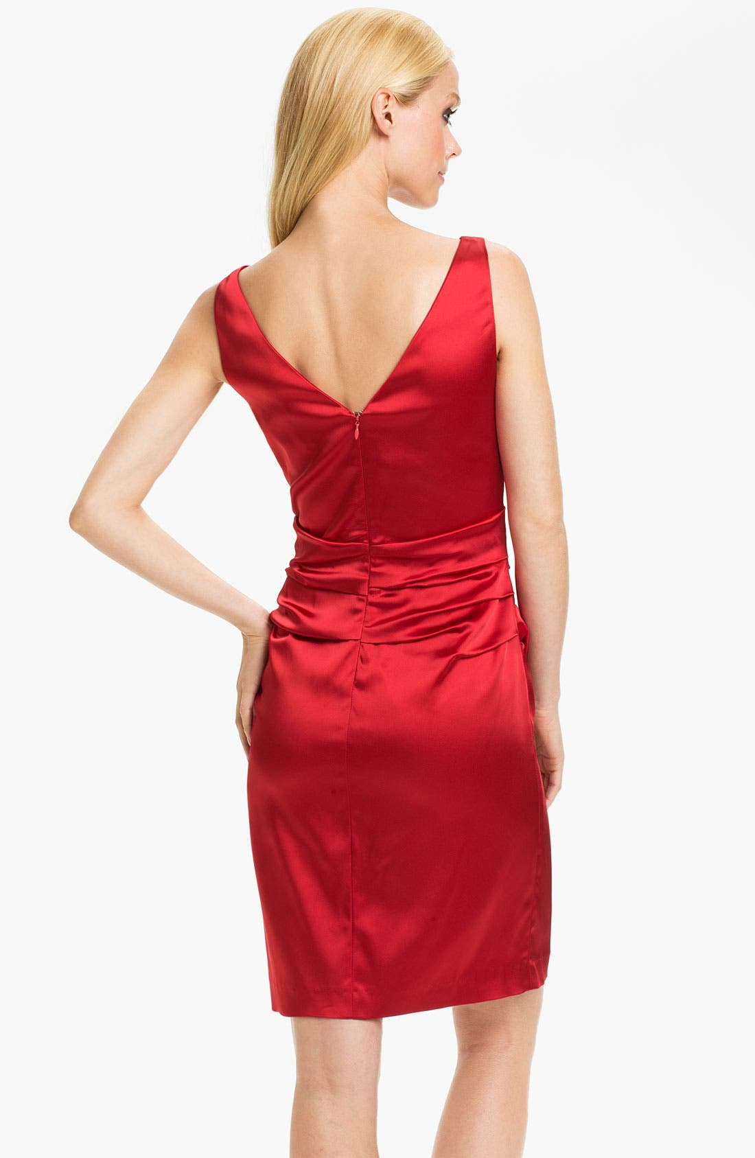 Alternate Image 2  - Suzi Chin for Maggy Boutique Double V-Neck Ruched Sheath Dress