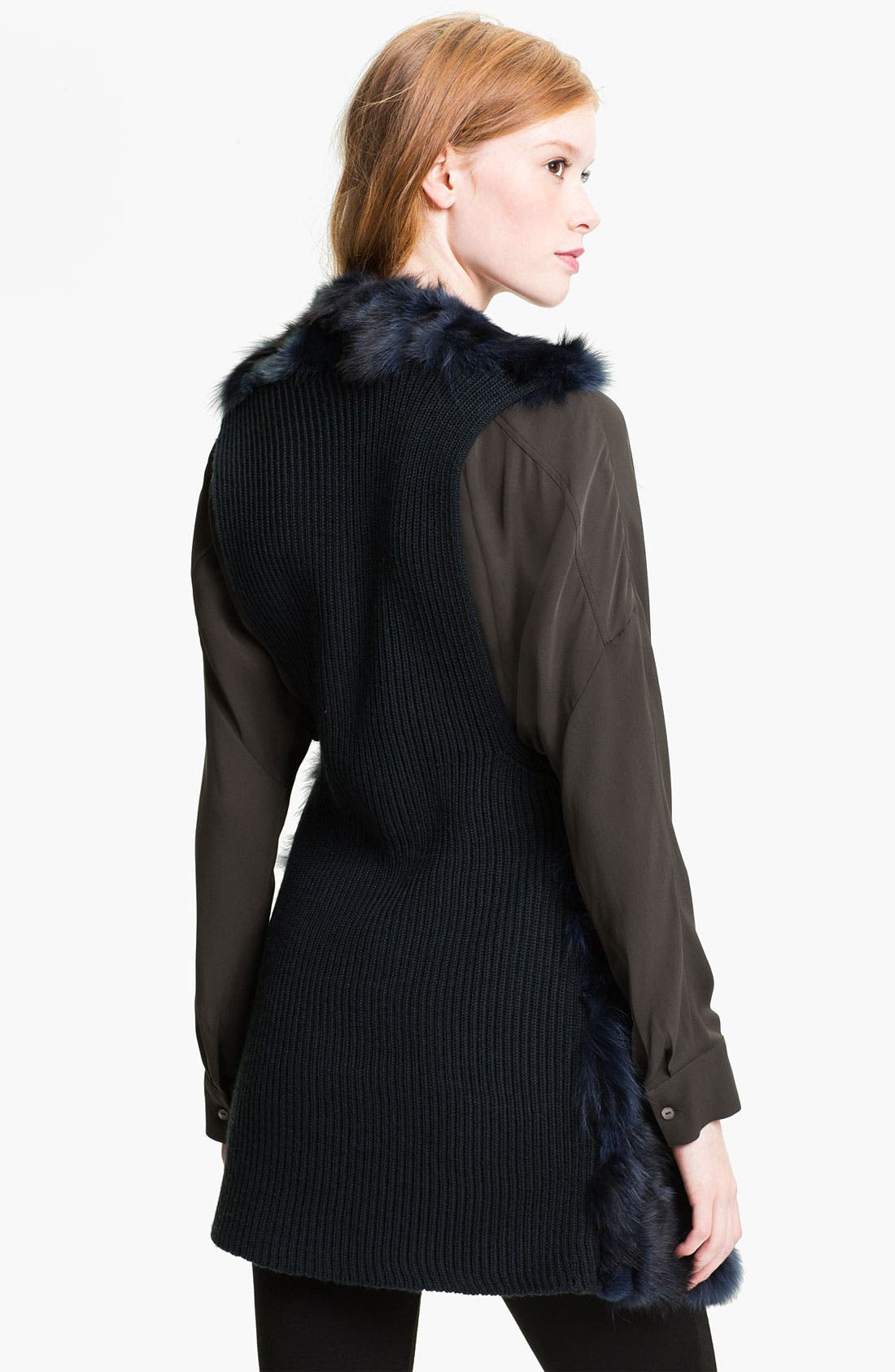 Alternate Image 2  - Alberto Makali Genuine Fox Fur & Knit Vest (Online Exclusive)