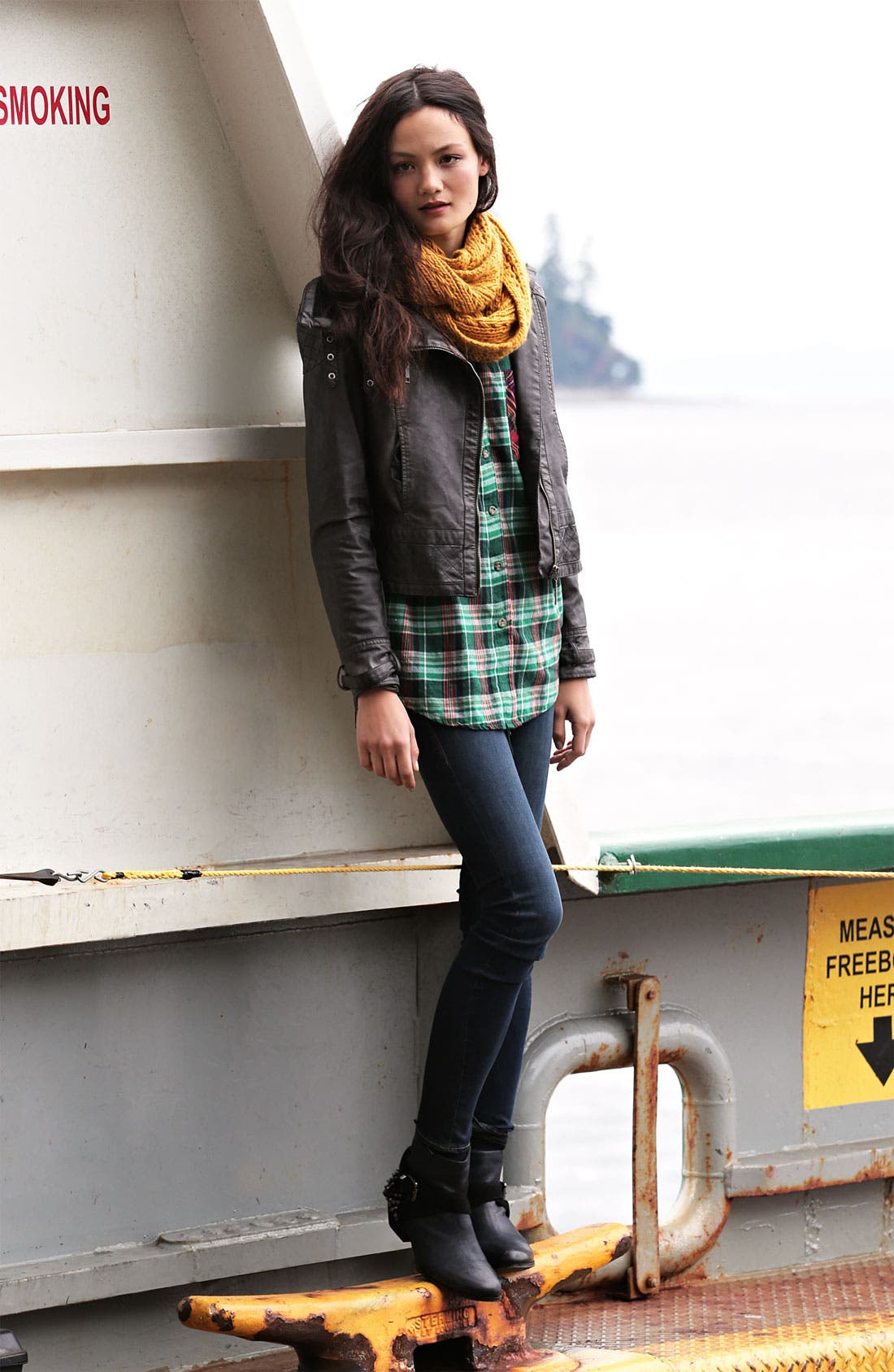 Alternate Image 6  - Jou Jou Knit Collar Moto Jacket (Juniors)