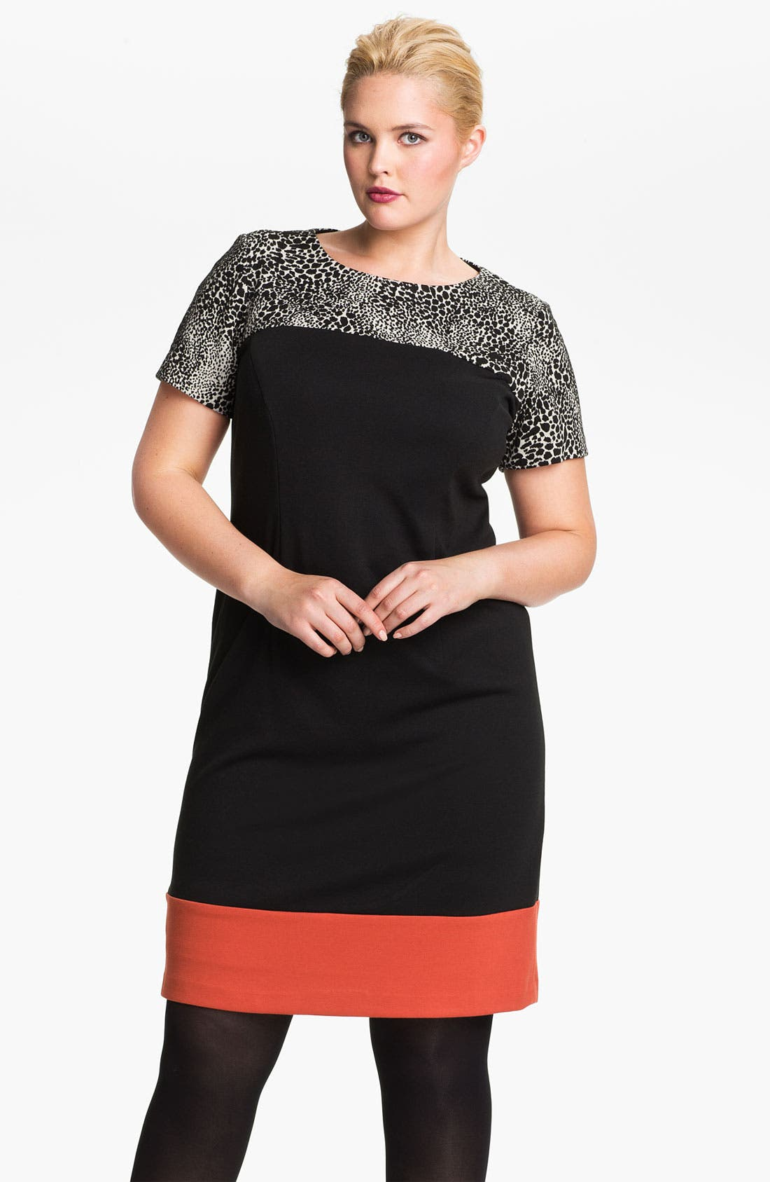 Main Image - Eliza J Colorblock Shift Dress (Plus)