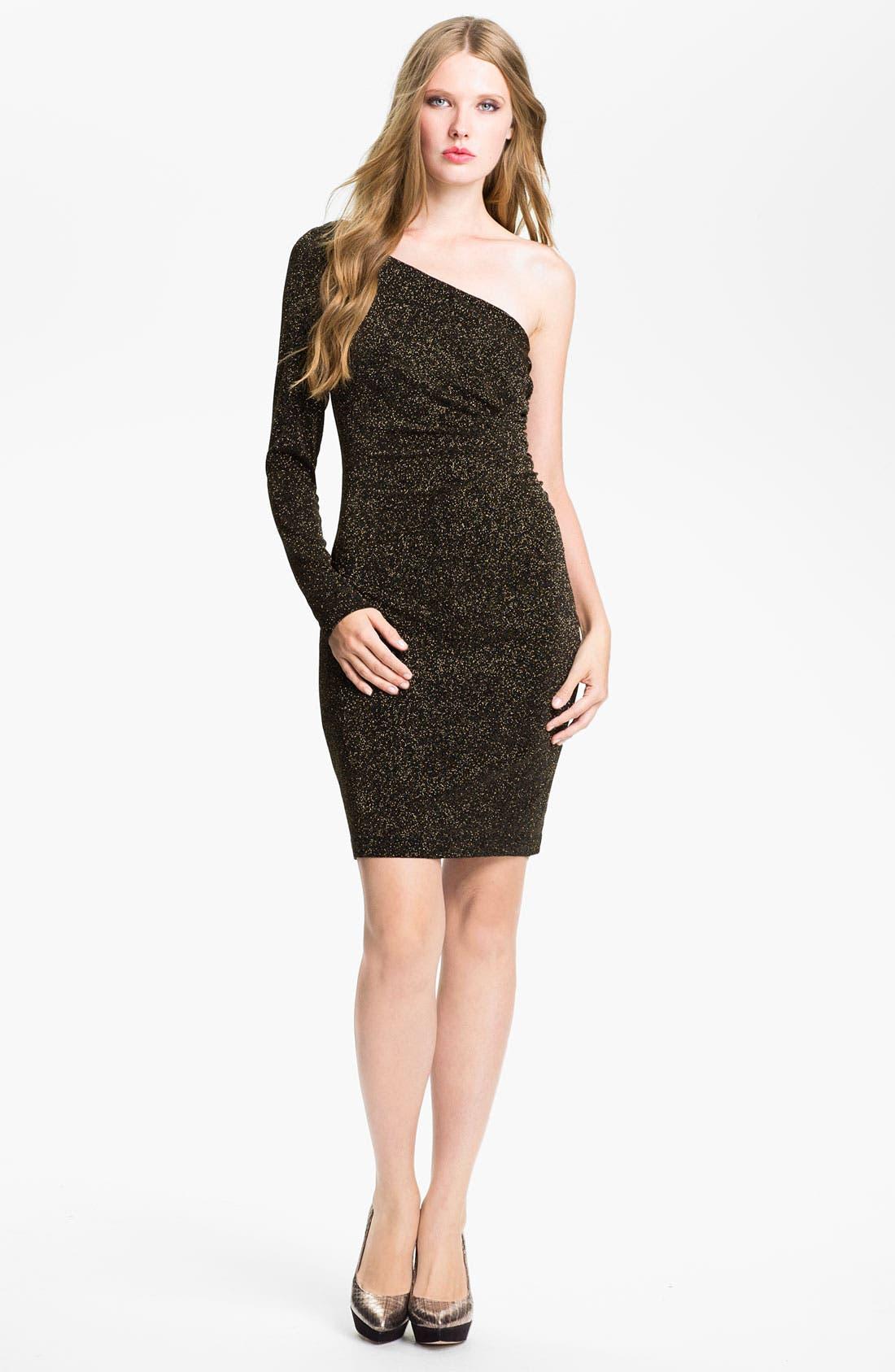 Main Image - Adrianna Papell One Sleeve Glitter Jersey Sheath Dress