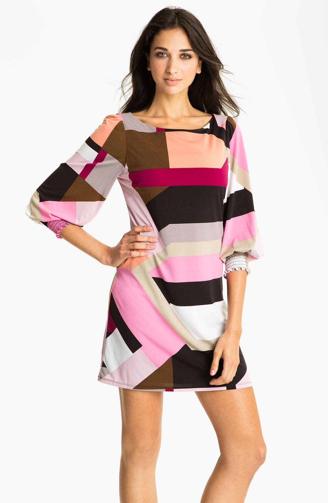 Alternate Image 1 Selected - Eliza J Smocked Cuff Jersey Shift Dress