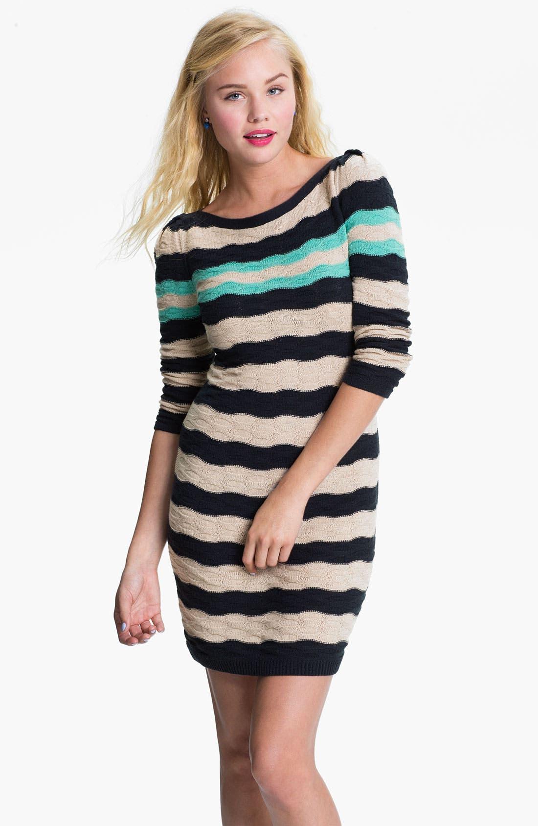 Main Image - BP. Texture Knit Sweater Dress (Juniors)