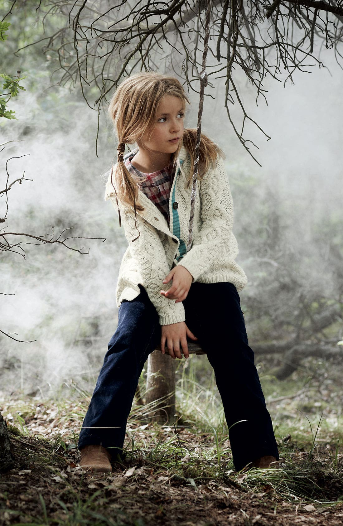 Alternate Image 2  - Mini Boden Chunky Cable Knit Cardigan (Little Girls & Big Girls)