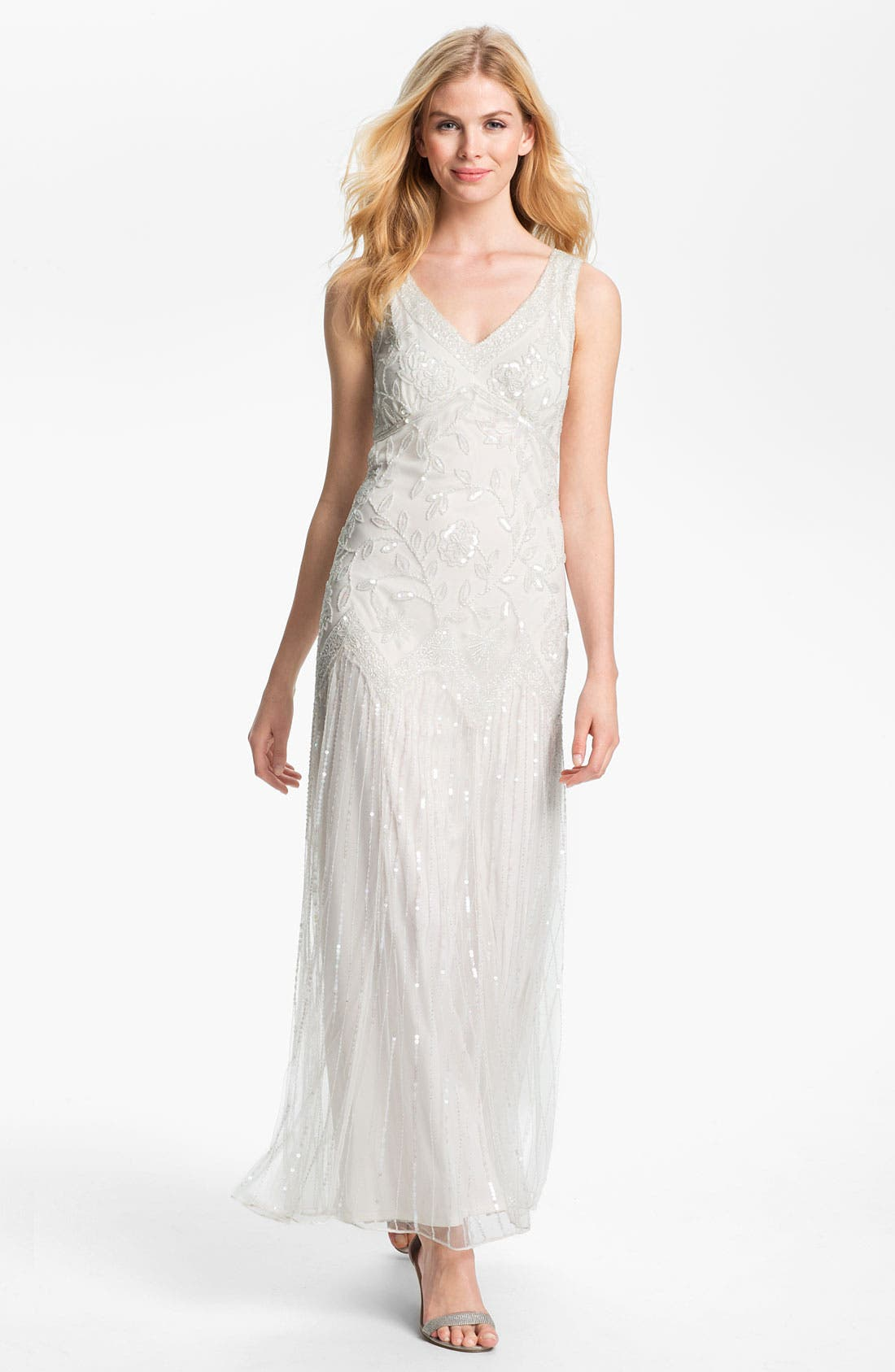 Alternate Image 1 Selected - Pisarro Nights V-Neck Bead & Sequin Mesh Gown
