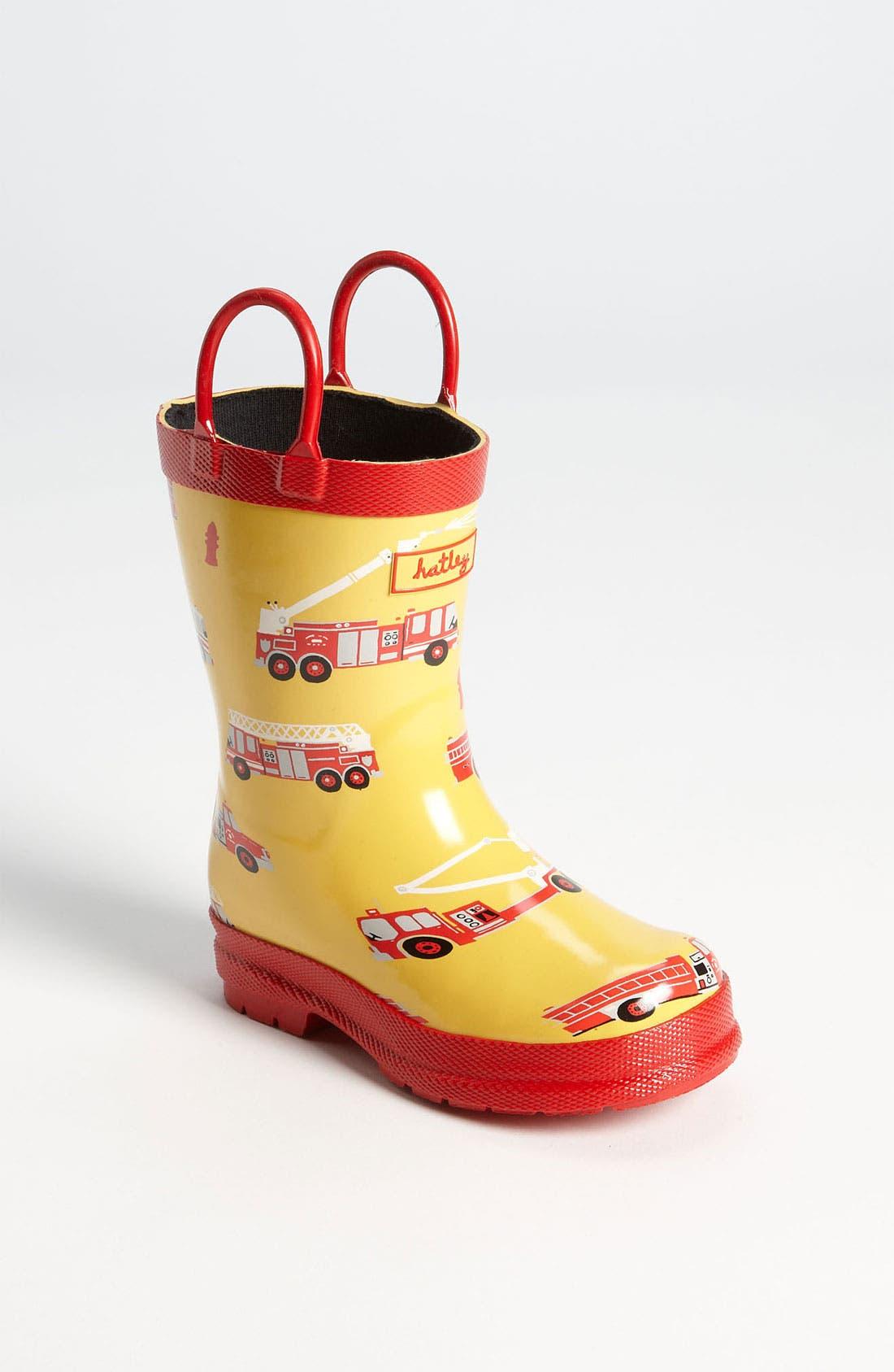 Alternate Image 1 Selected - Hatley 'Fire Trucks' Rain Boot (Walker, Toddler & Little Kid)