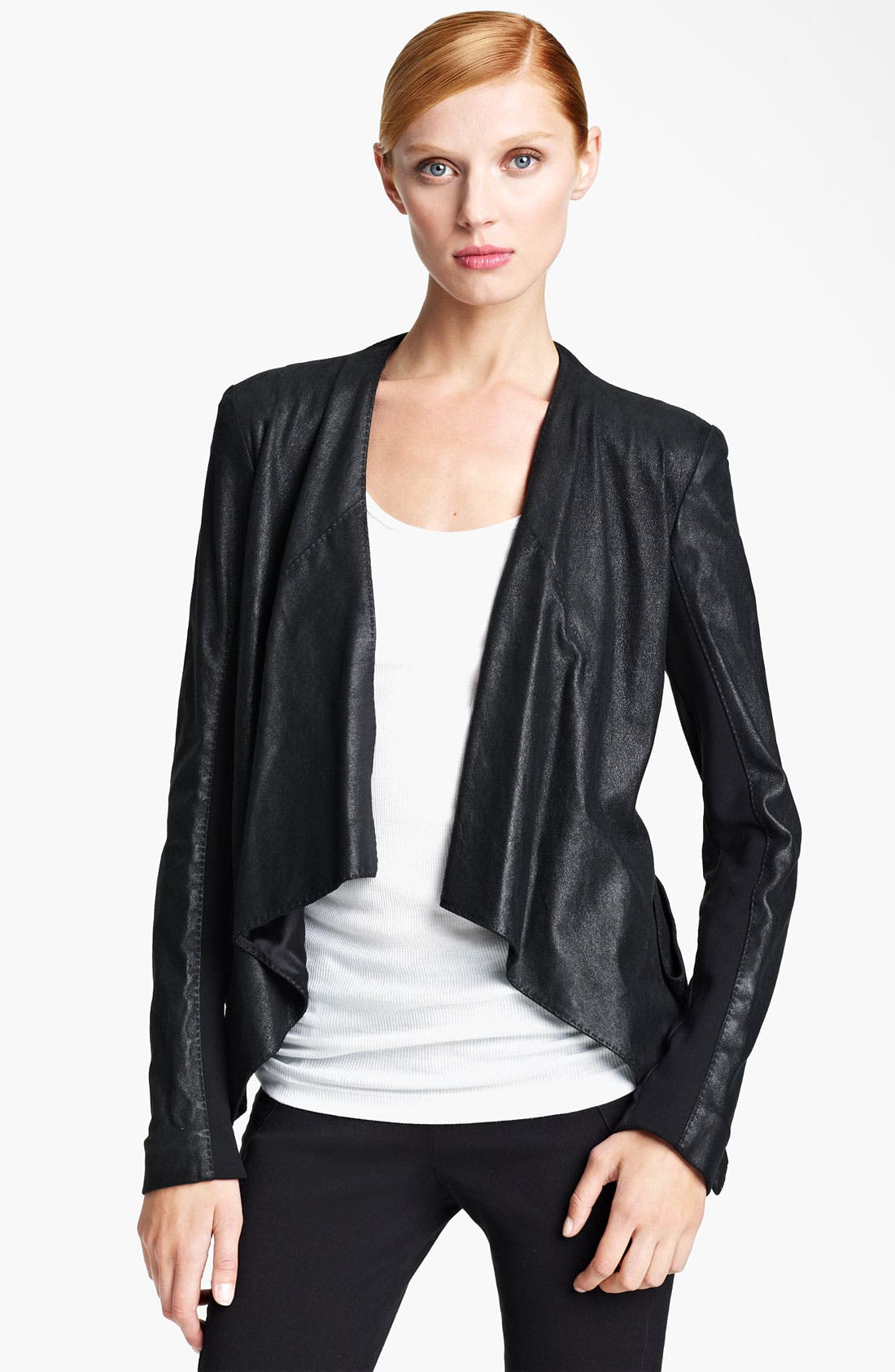 Main Image - Donna Karan Collection Draped Stretch Leather Jacket