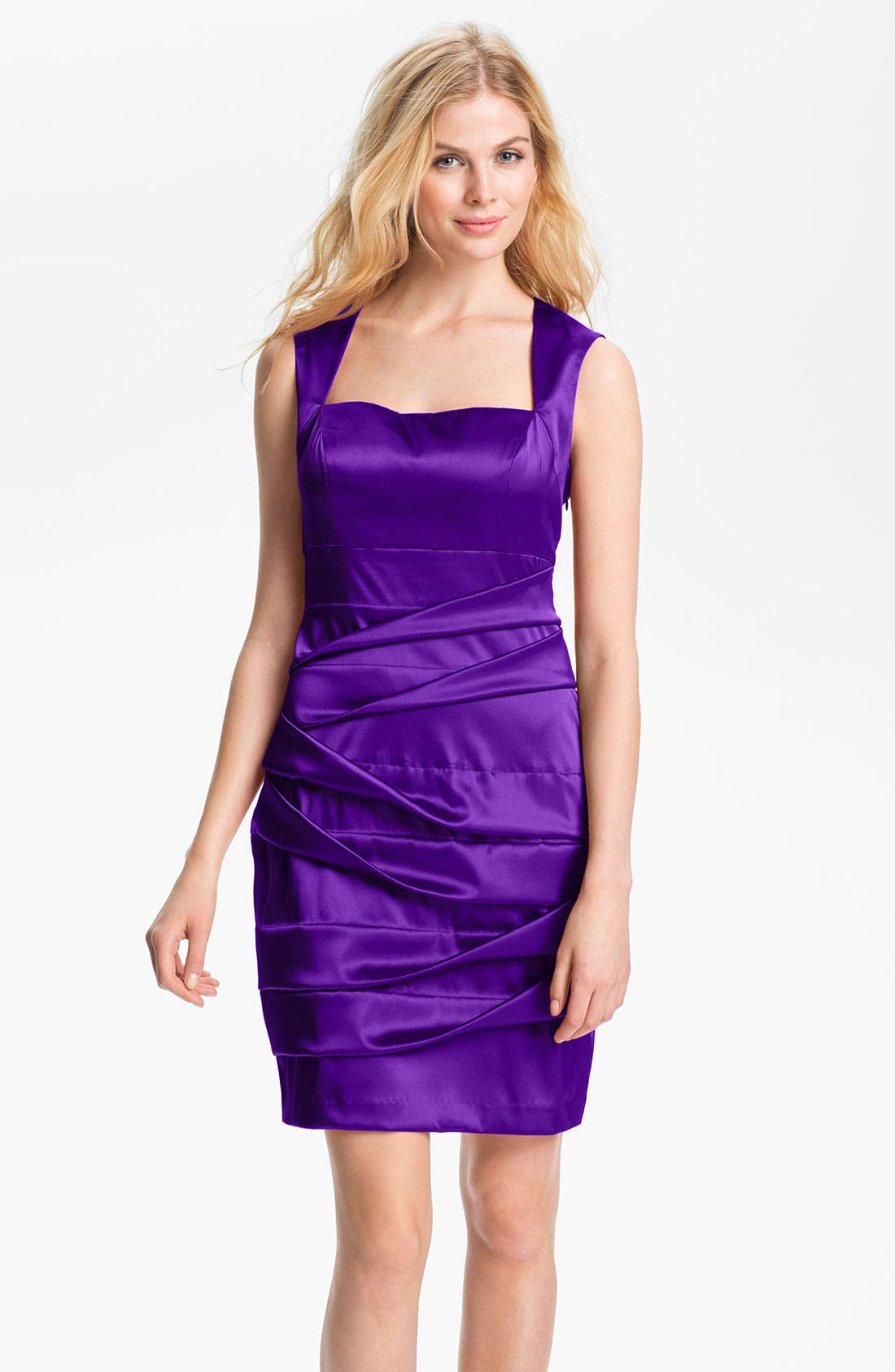 Main Image - Hailey by Adrianna Papell Back Cutout Pleated Satin Dress