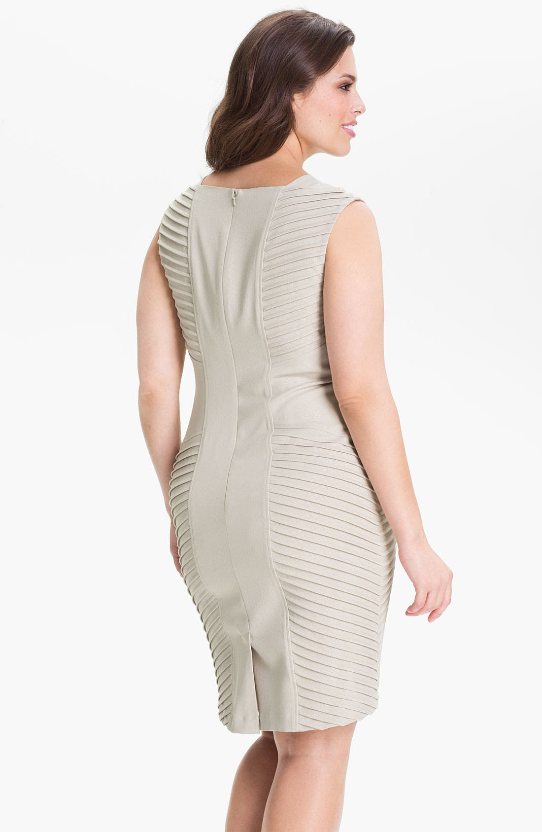 Alternate Image 2  - Adrianna Papell Sleeveless Tucked Sheath Dress (Plus)