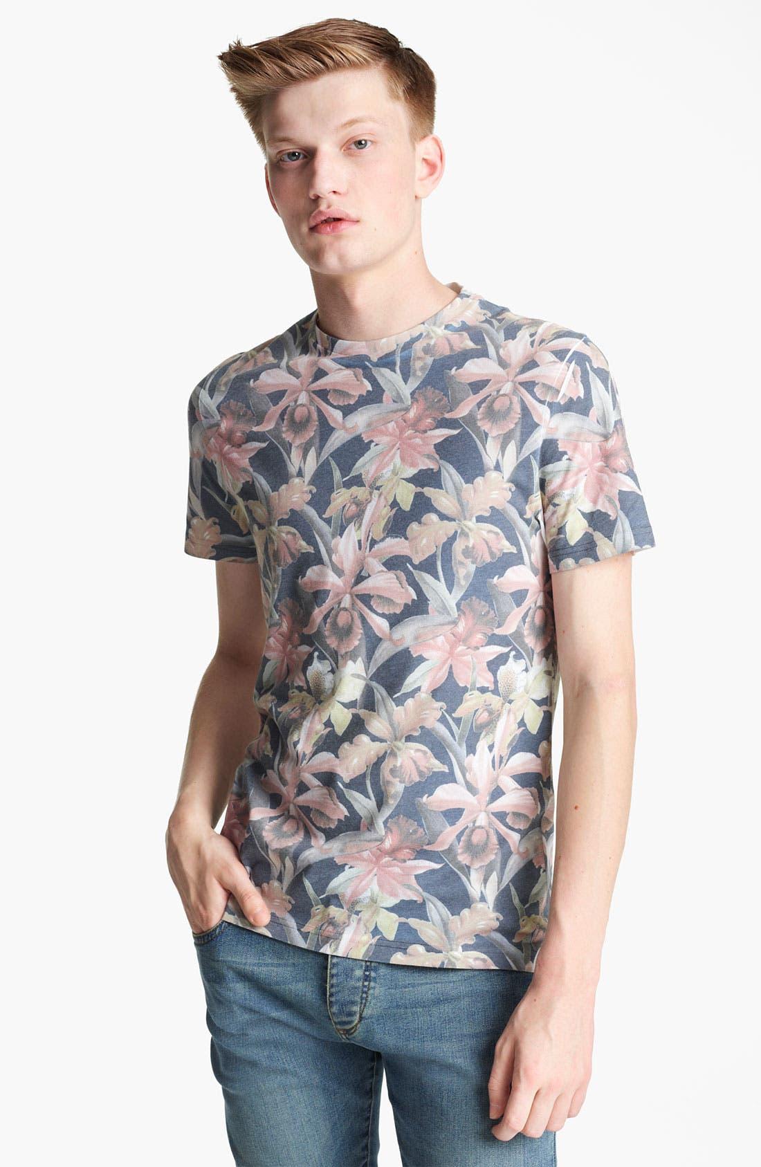 Main Image - Topman 'Moody Floral' Print T-Shirt