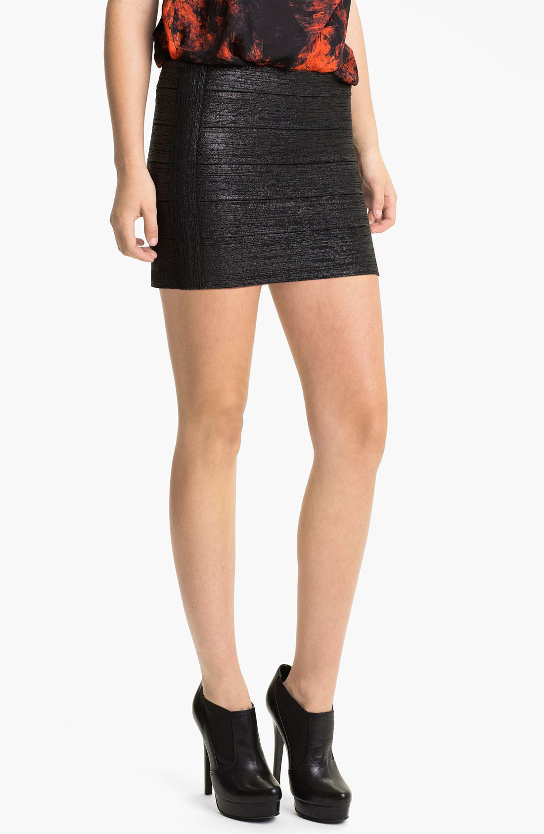Alternate Image 1 Selected - Haute Hippie Metallic Bandage Miniskirt