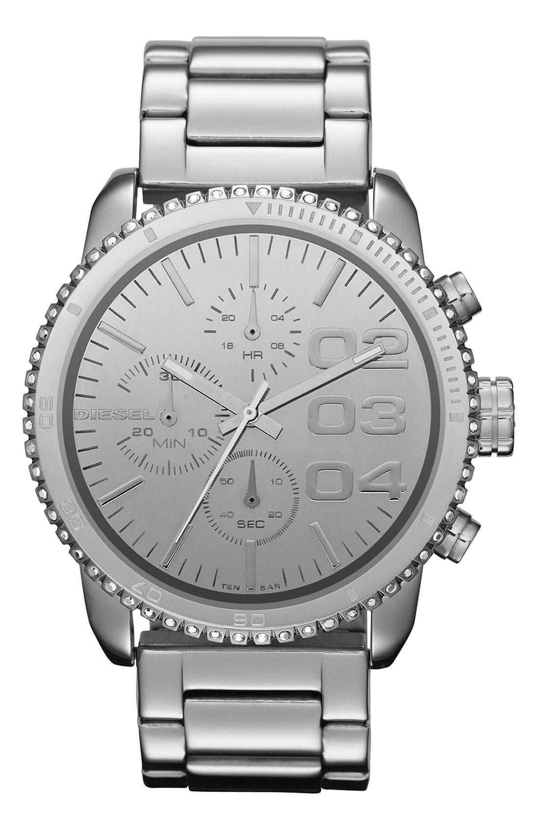 Alternate Image 1 Selected - DIESEL® 'Franchise' Chronograph Bracelet Watch, 42mm x 46mm