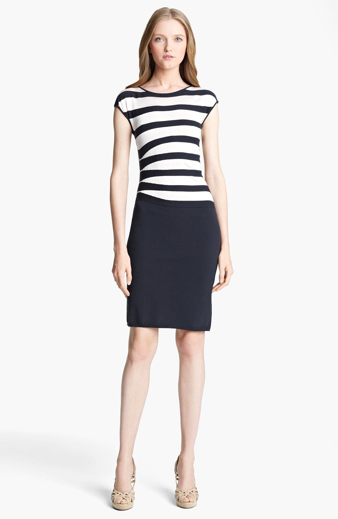Main Image - Armani Collezioni Asymmetrical Stripe Dress