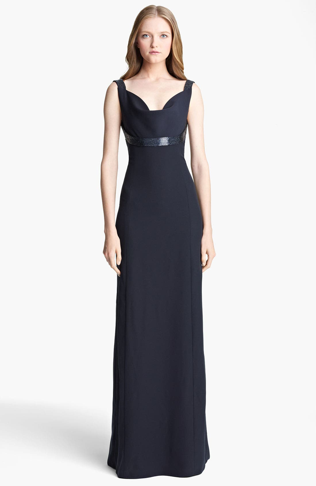 Main Image - Armani Collezioni Beaded Strap Cady Gown