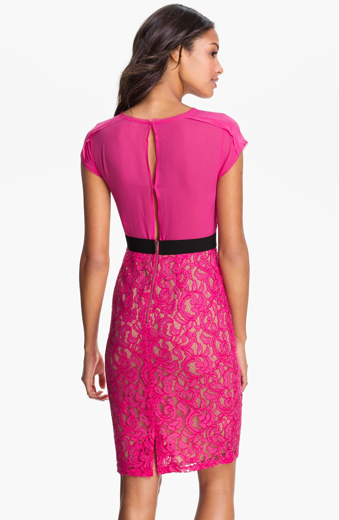 Alternate Image 2  - BCBGMAXAZRIA Sheer Back Lace Sheath Dress