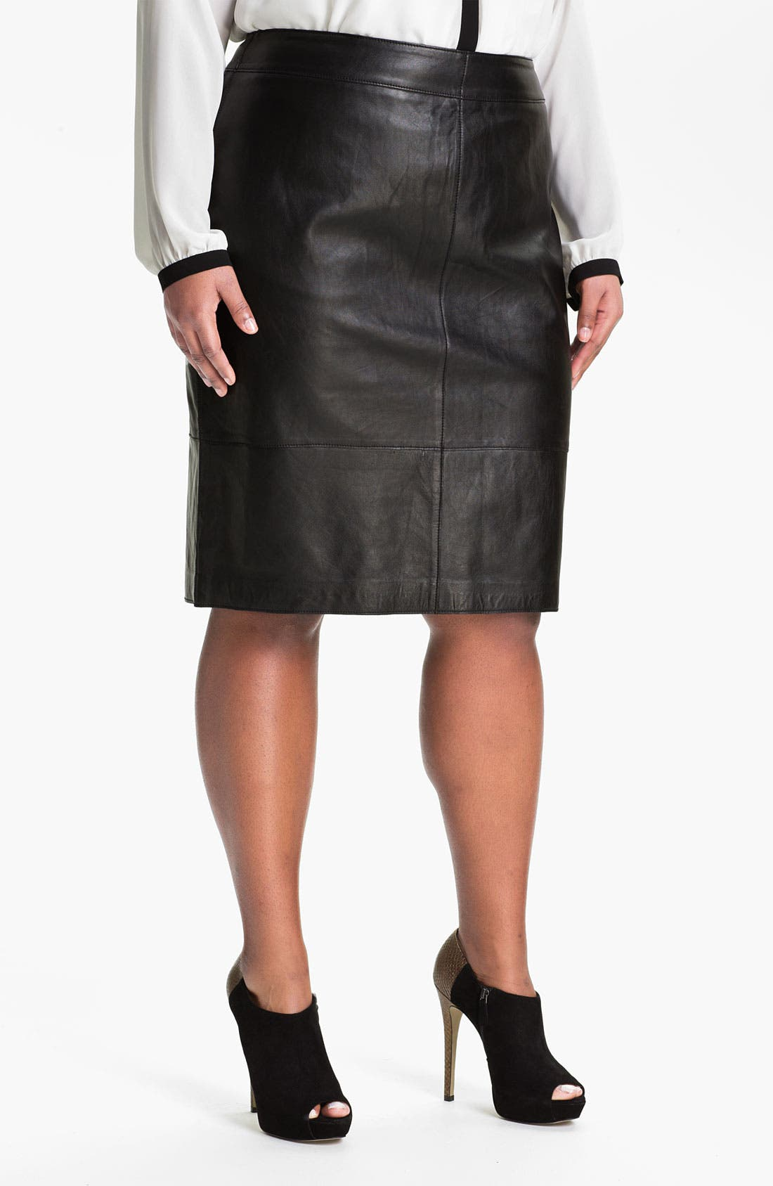 Alternate Image 1 Selected - Sejour Leather Skirt (Plus)