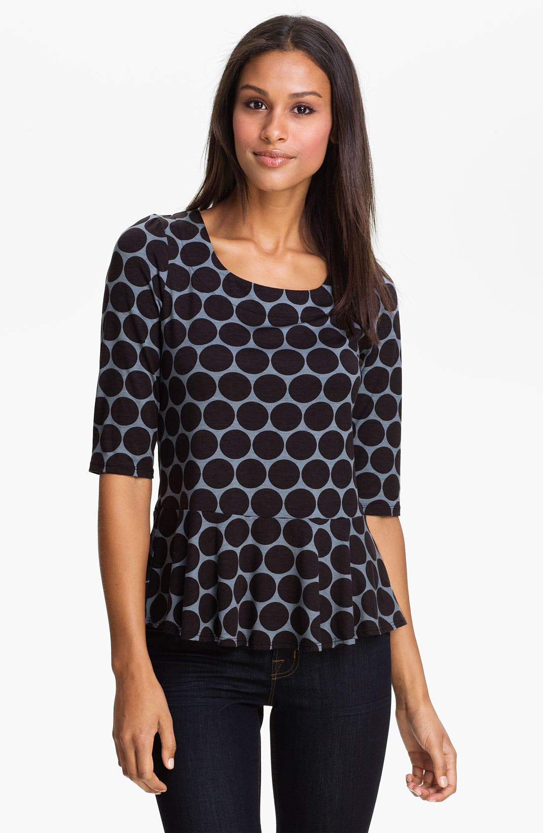 Alternate Image 1 Selected - Bobeau Print Peplum Top