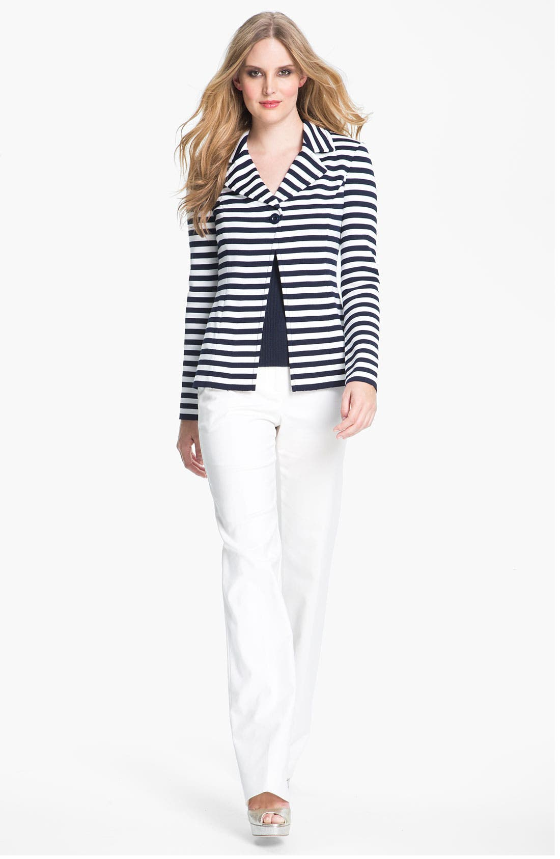 Main Image - St. John Collection 'Shelley' Double Weave Stretch Cotton Pants
