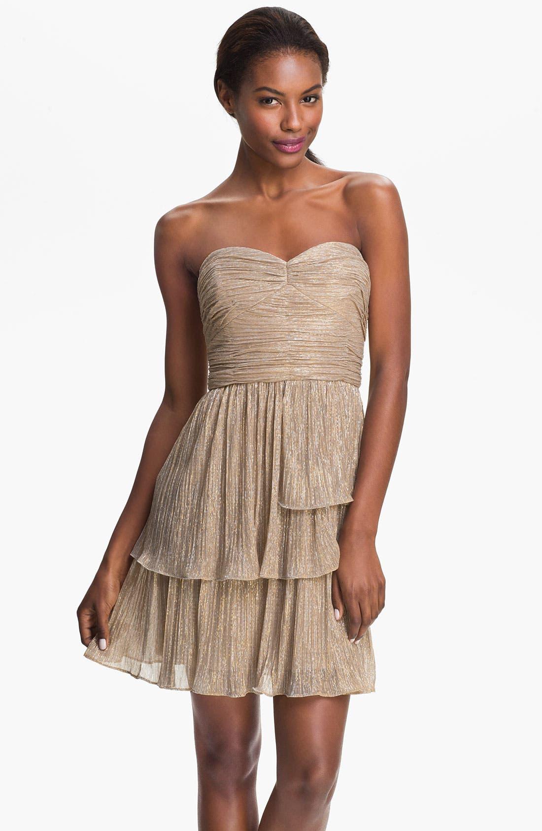 Alternate Image 1 Selected - Max & Cleo 'Rebecca' Ruched Metallic Dress