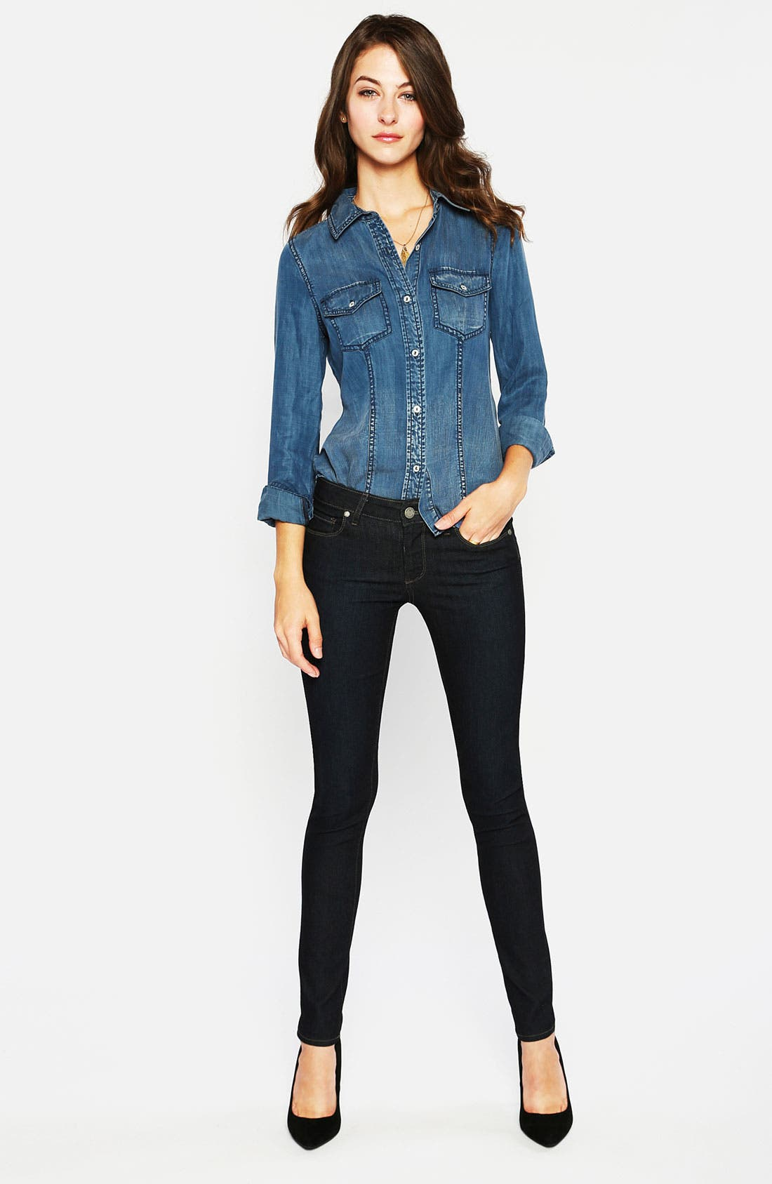 Alternate Image 4  - Paige Denim 'Verdugo' Stretch Skinny Jeans (Dark Blue)
