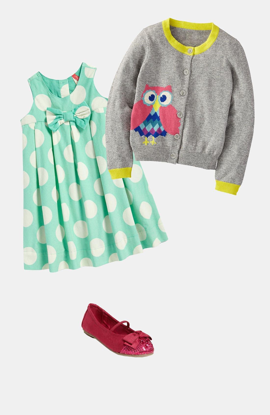 Main Image - Mini Boden Cardigan & REPORT Flat (Toddler)