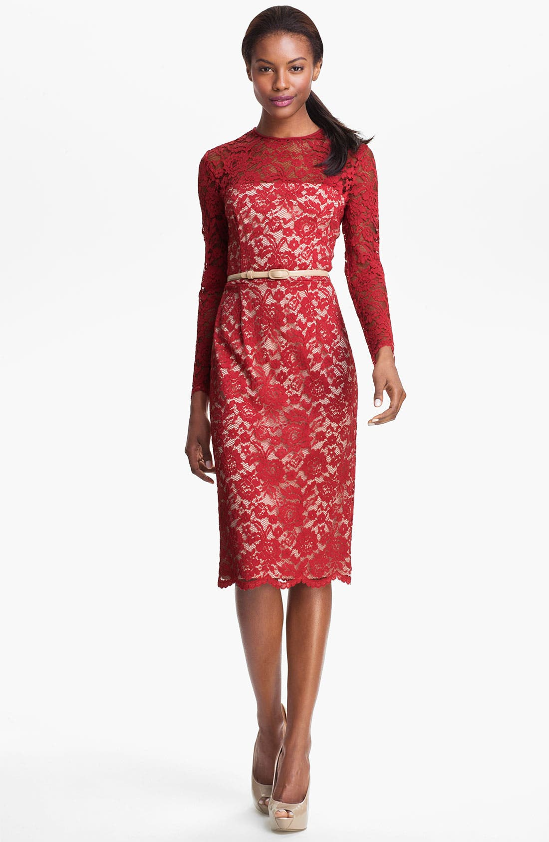 Alternate Image 3  - Maggy London Embroidered Lace Overlay Midi Dress (Regular & Petite)