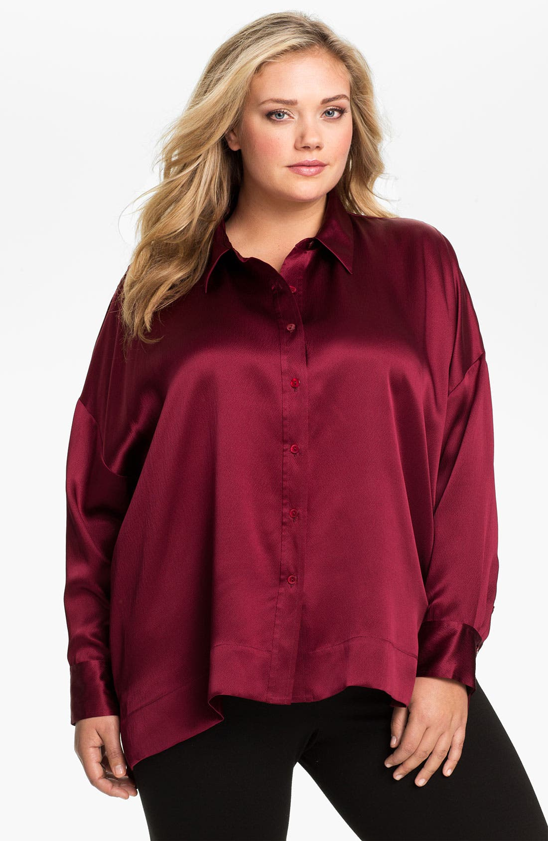 Alternate Image 1 Selected - Eileen Fisher Hammered Silk Satin Blouse (Plus)