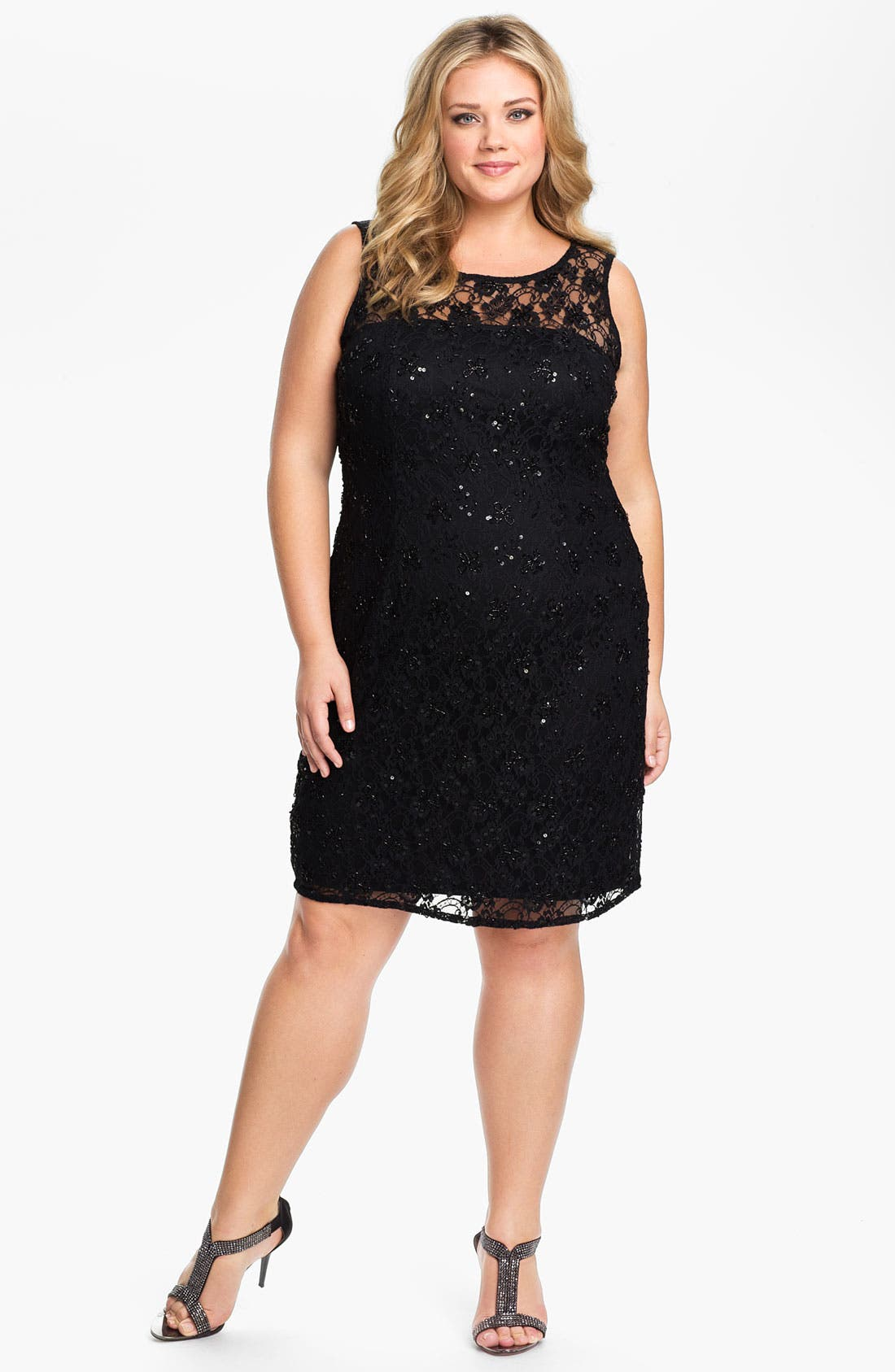 Alternate Image 1 Selected - Adrianna Papell Lace Overlay Sheath Dress (Plus)