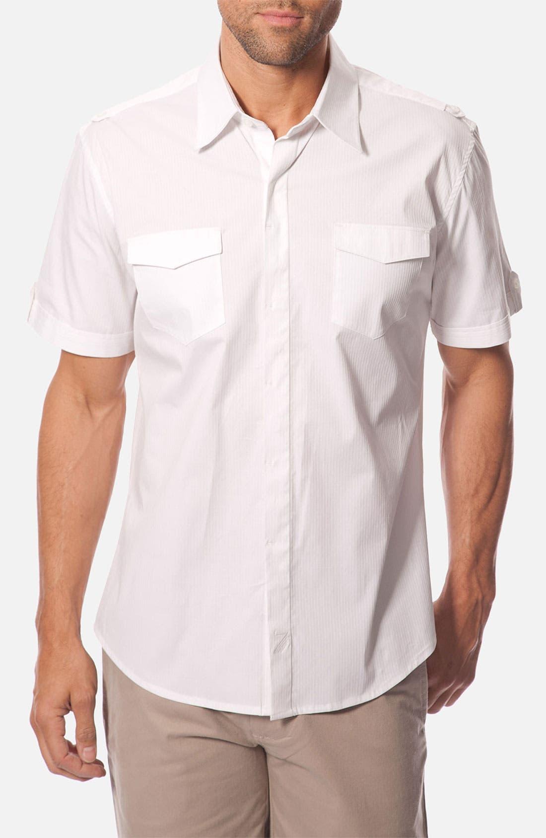 Main Image - 7 Diamonds 'Body & Soul' Tonal Stripe Woven Short Sleeve Shirt