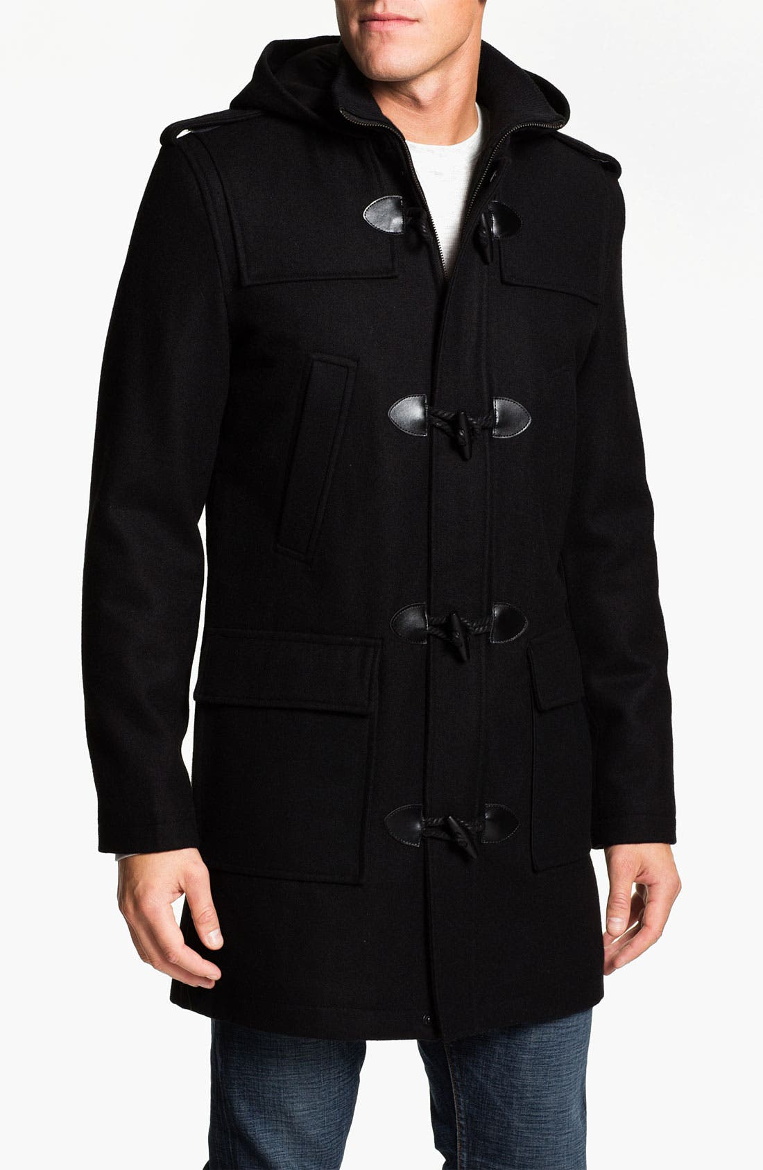 Main Image - Black Rivet Wool Blend Trench Coat