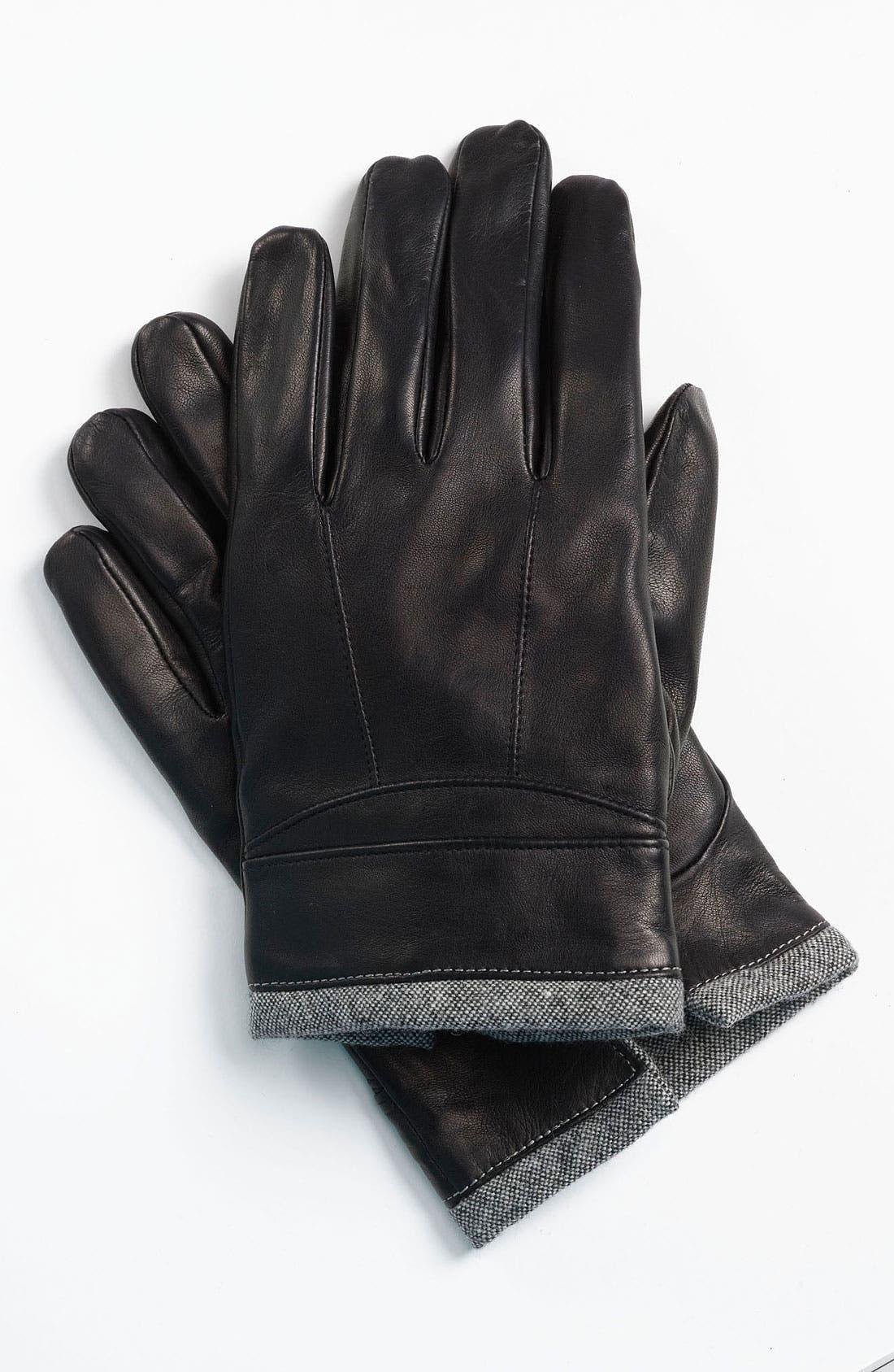 Main Image - BOSS Black 'Hentom' Leather Gloves