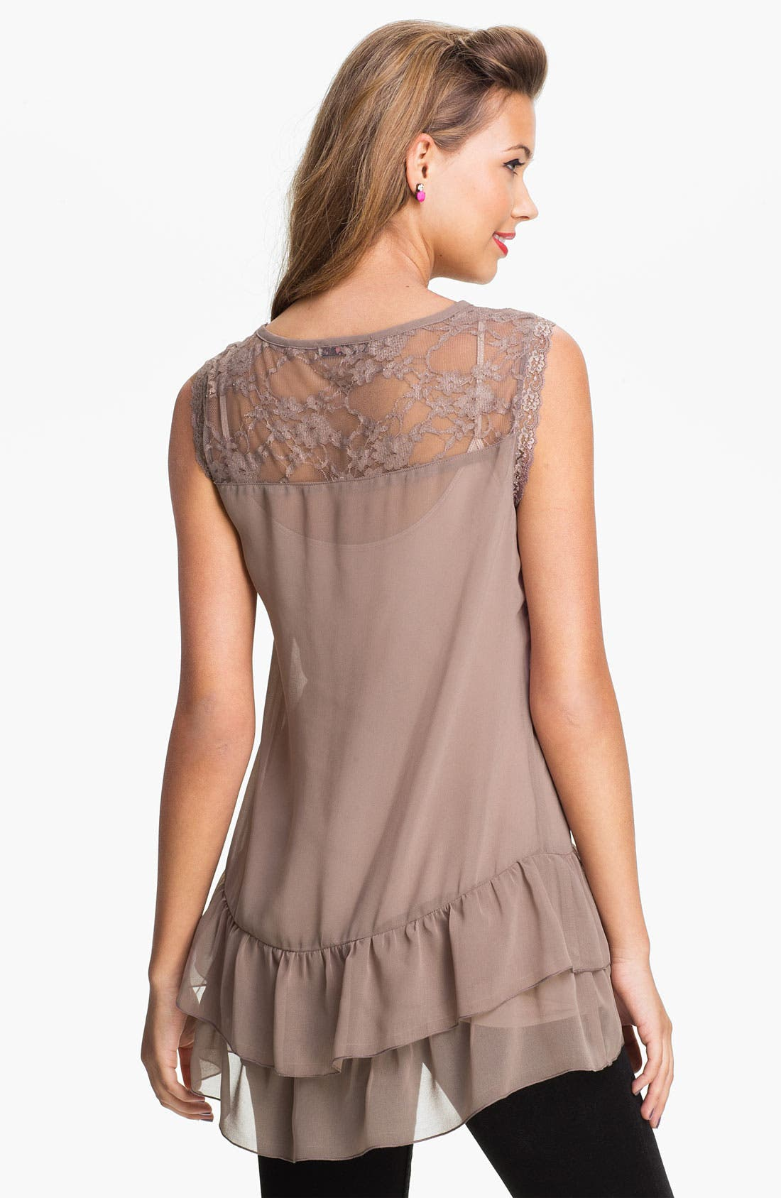 Alternate Image 2  - Love Squared Tiered Chiffon & Lace Tunic (Juniors)