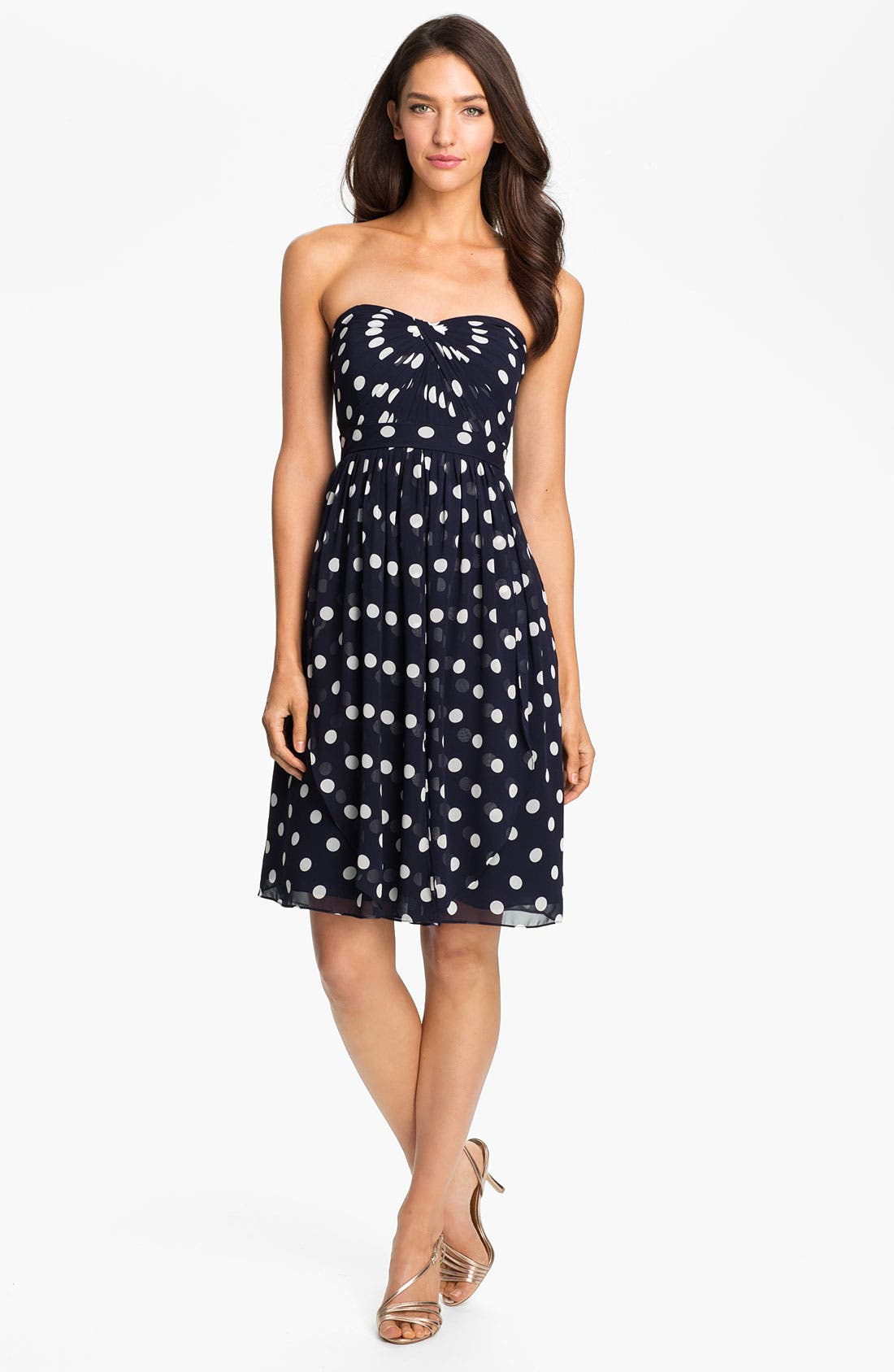Alternate Image 3  - Jenny Yoo Strapless Polka Dot Convertible Chiffon Dress (Online Only)