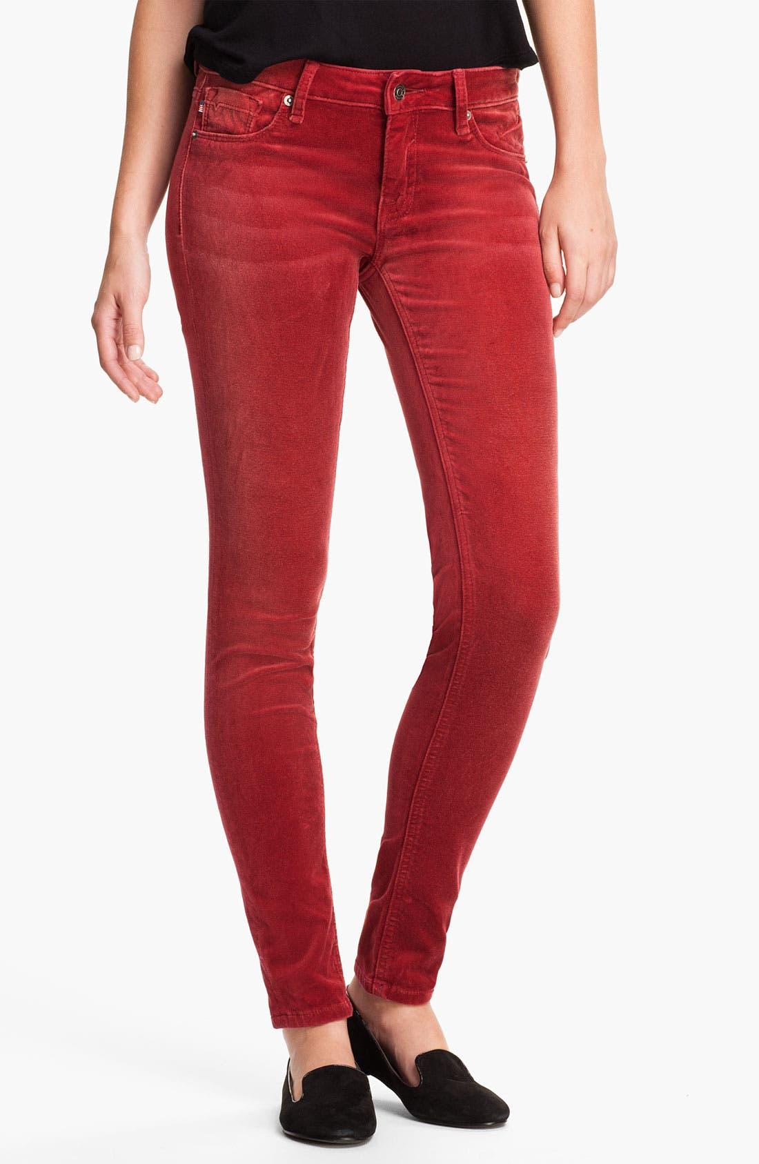 Main Image - Vigoss Color Skinny Velvet Pants (Juniors)