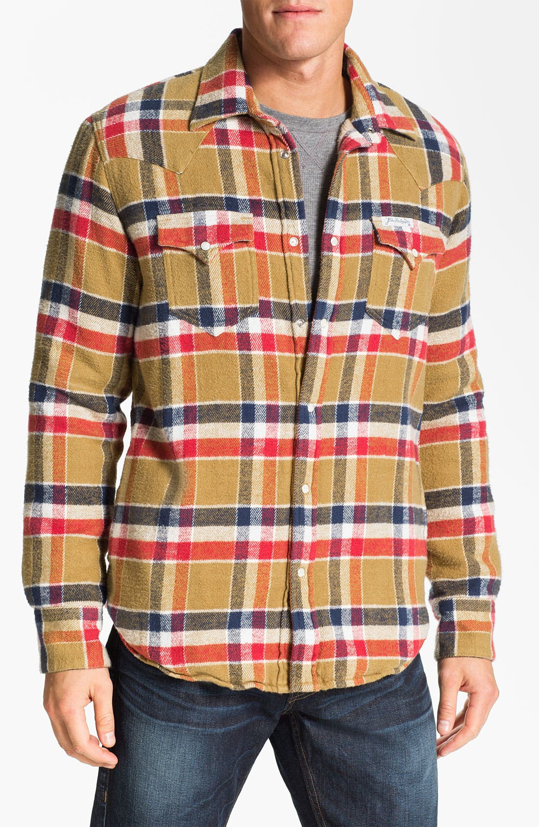Alternate Image 1 Selected - True Religion Brand Jeans Plaid Flannel Shirt Jacket
