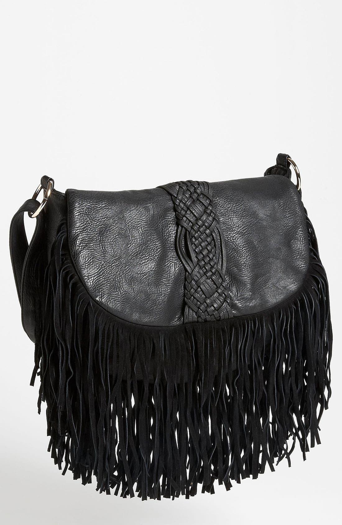 Main Image - Street Level Woven Fringe Crossbody Bag