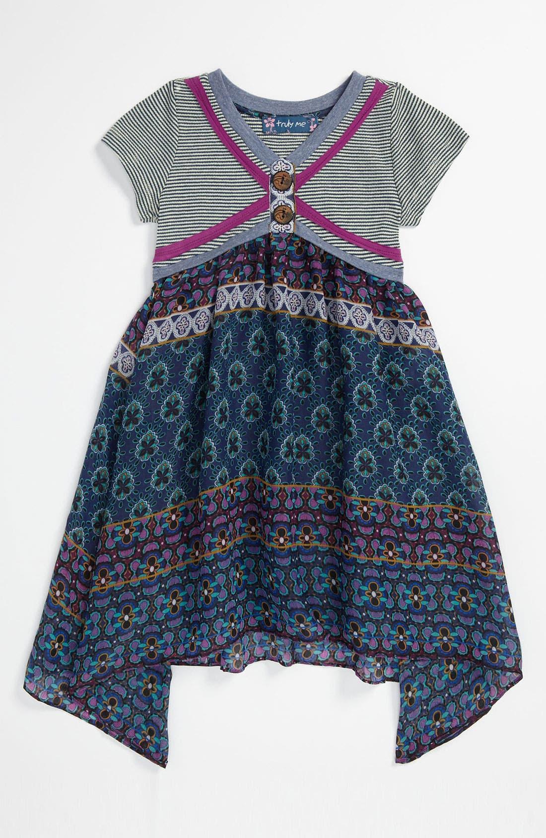 Main Image - Truly Me Short Sleeve Dress (Little Girls & Big Girls)