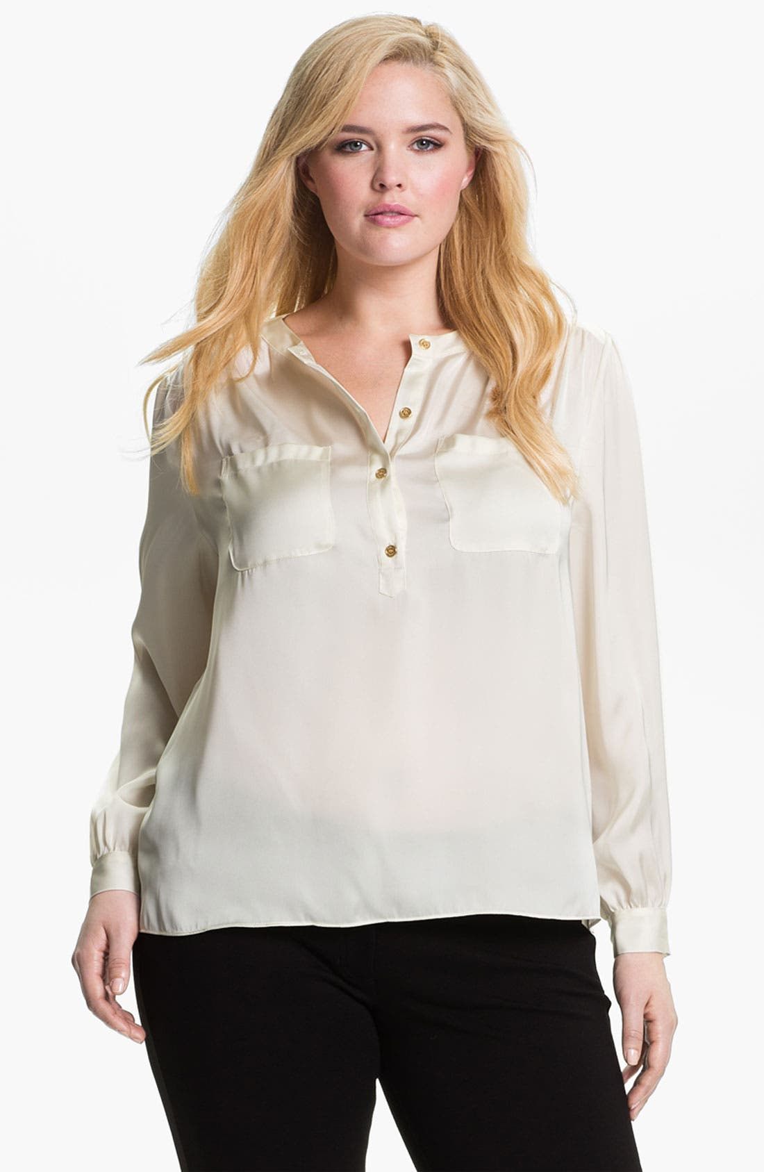 Main Image - Vince Camuto Satin Henley Blouse (Plus)