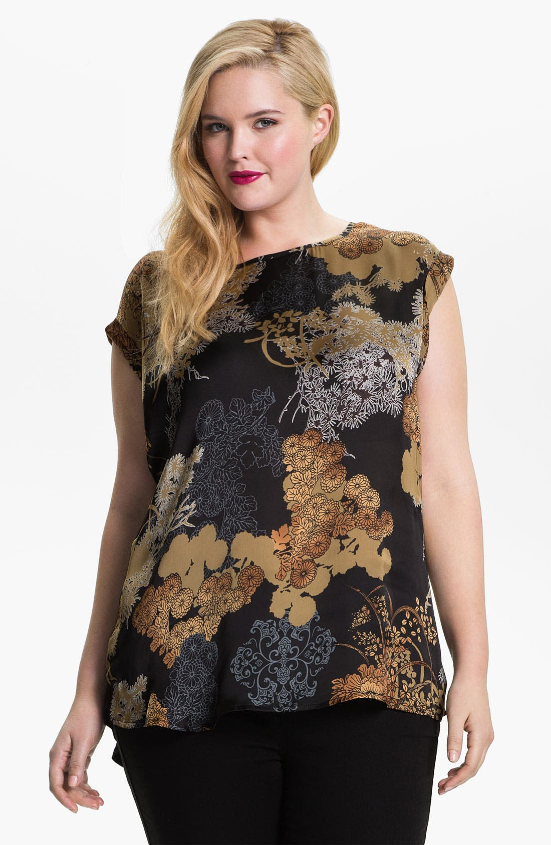 Alternate Image 1 Selected - Evans 'Oriental' Mixed Media Top (Plus Size)