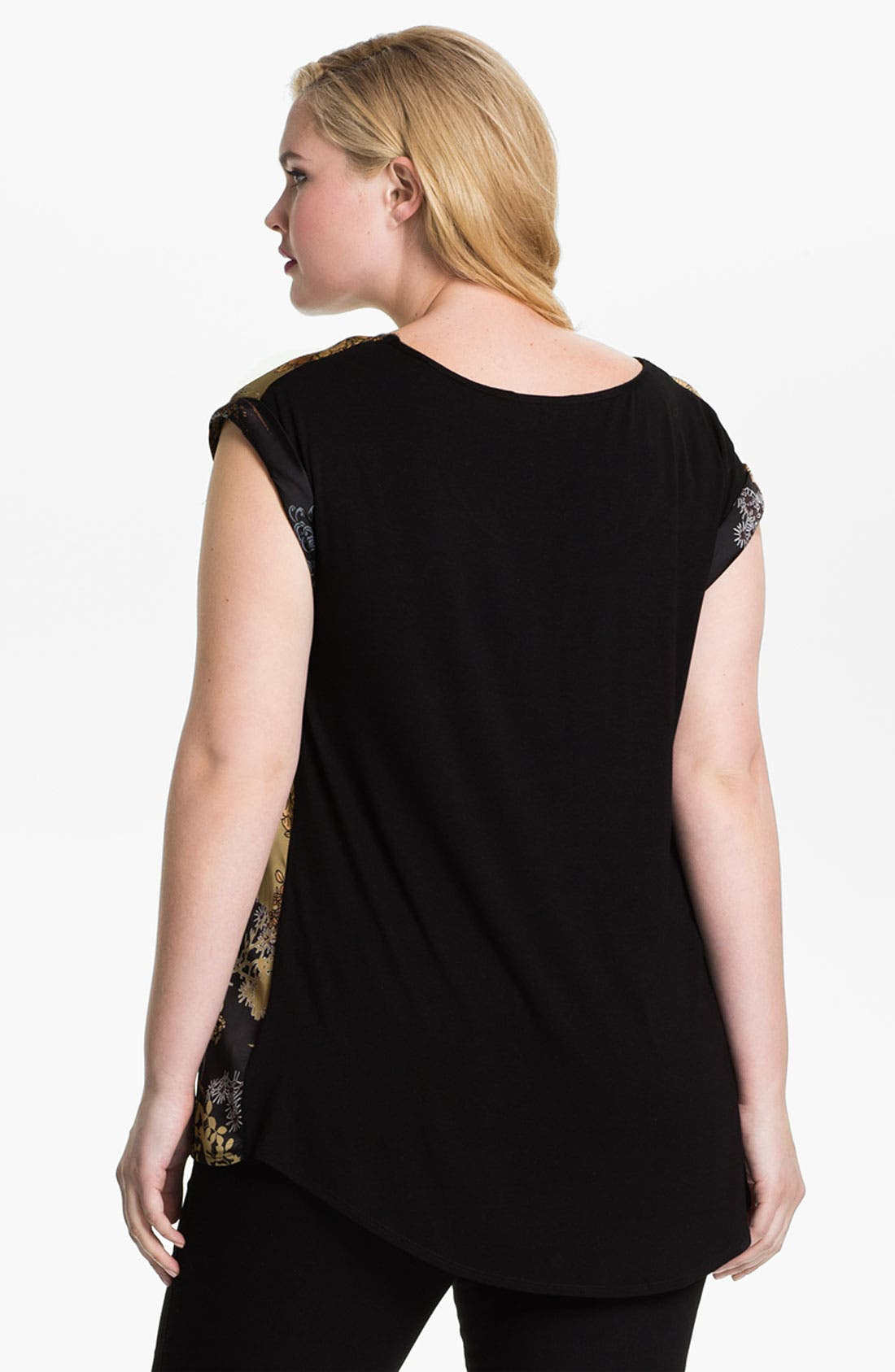 Alternate Image 3  - Evans 'Oriental' Mixed Media Top (Plus Size)