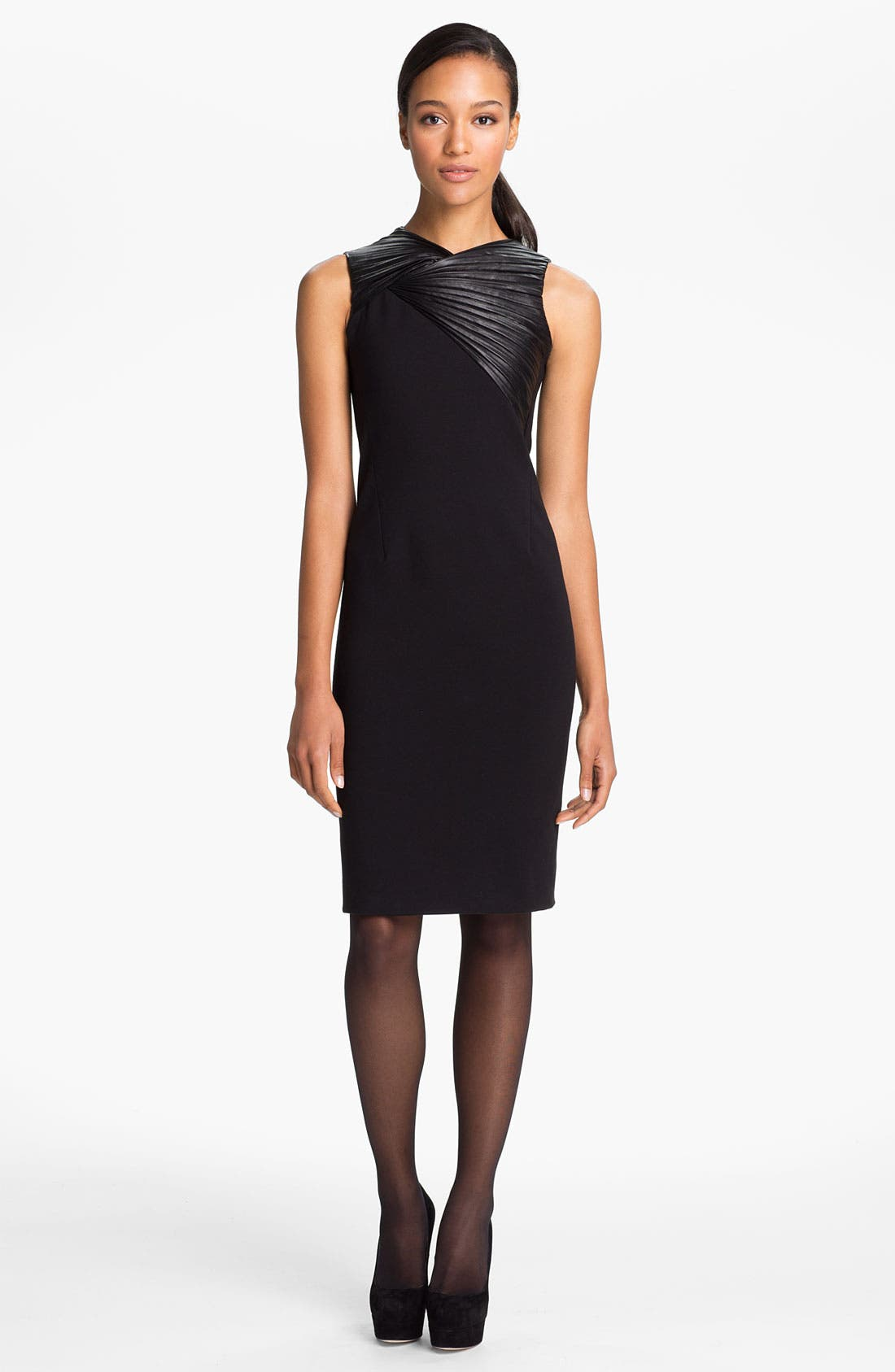 Main Image - Halston Heritage Leather Trim Ponte Knit Dress