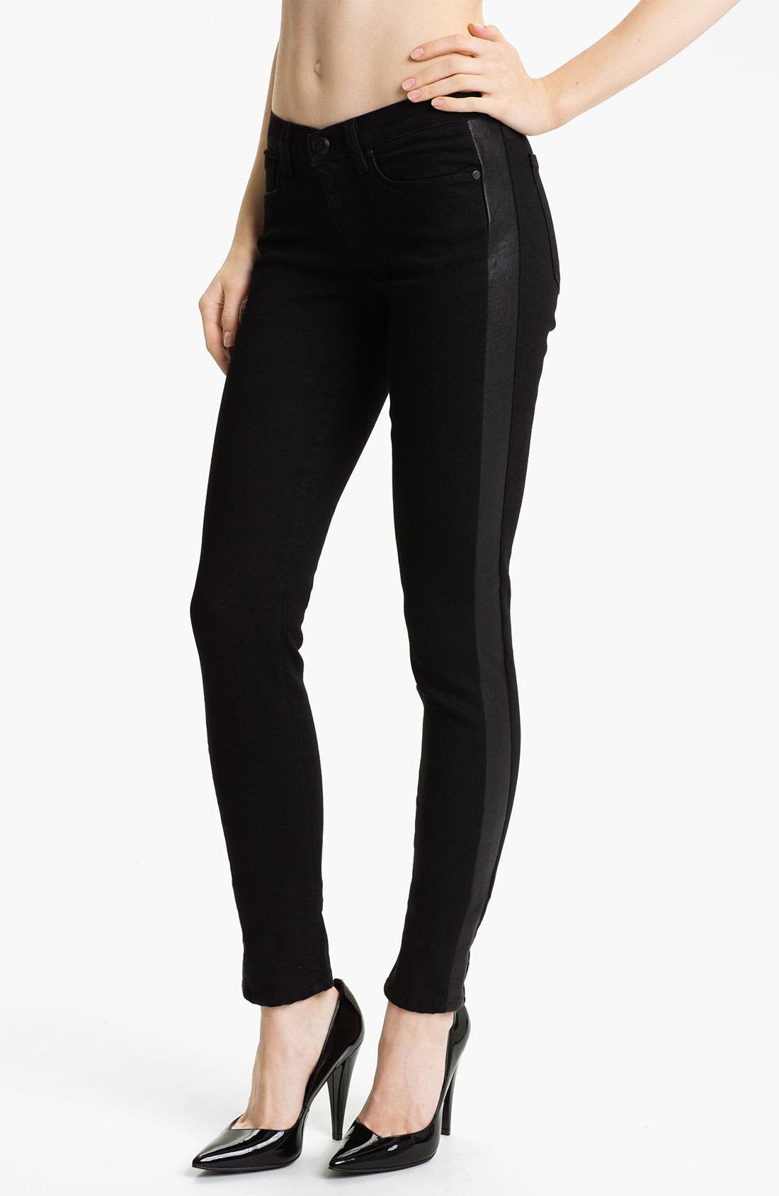 Main Image - Juicy Couture Leather Tux Stripe Skinny Jeans (Lilia)